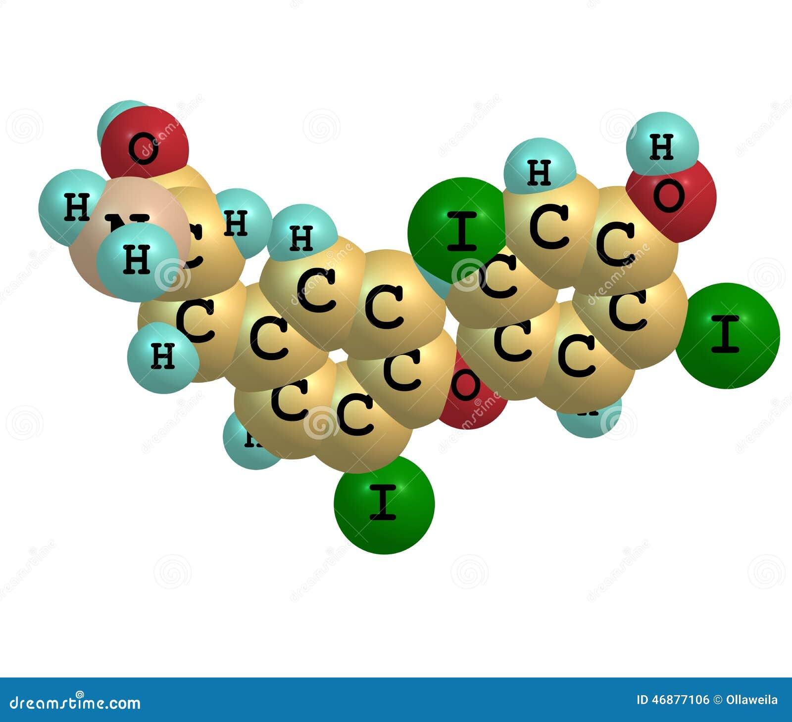 Μόριο Triiodothyronine που απομονώνεται στο λευκό