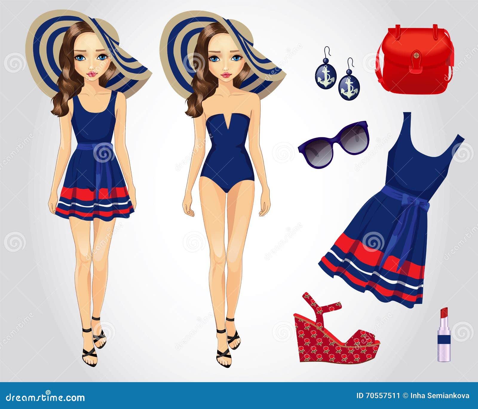 Μόδας παραλία που τίθεται μπλε για το κορίτσι