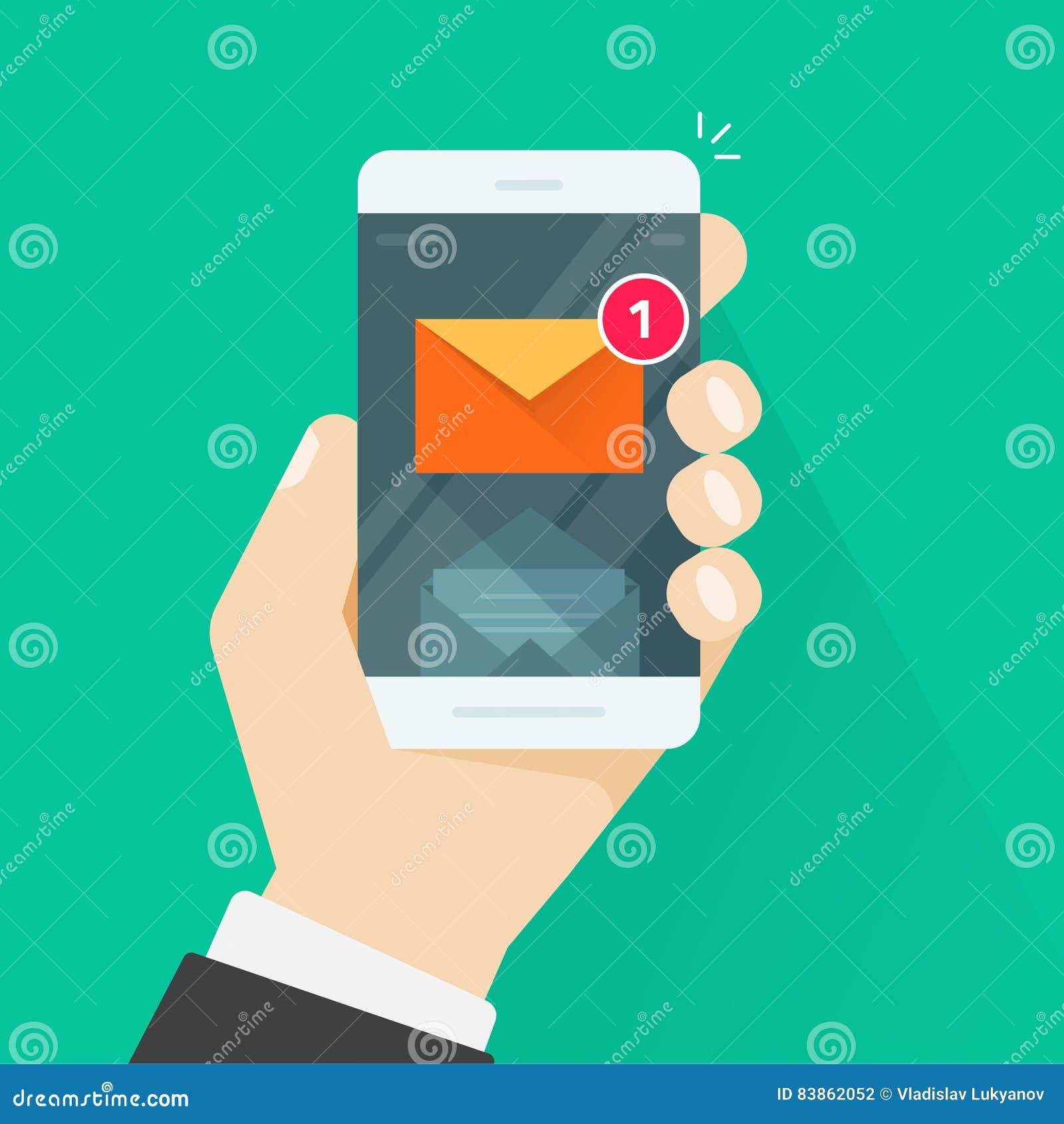 Νέα ανακοίνωση μηνυμάτων ηλεκτρονικού ταχυδρομείου στην κινητή τηλεφωνική διανυσματική απεικόνιση