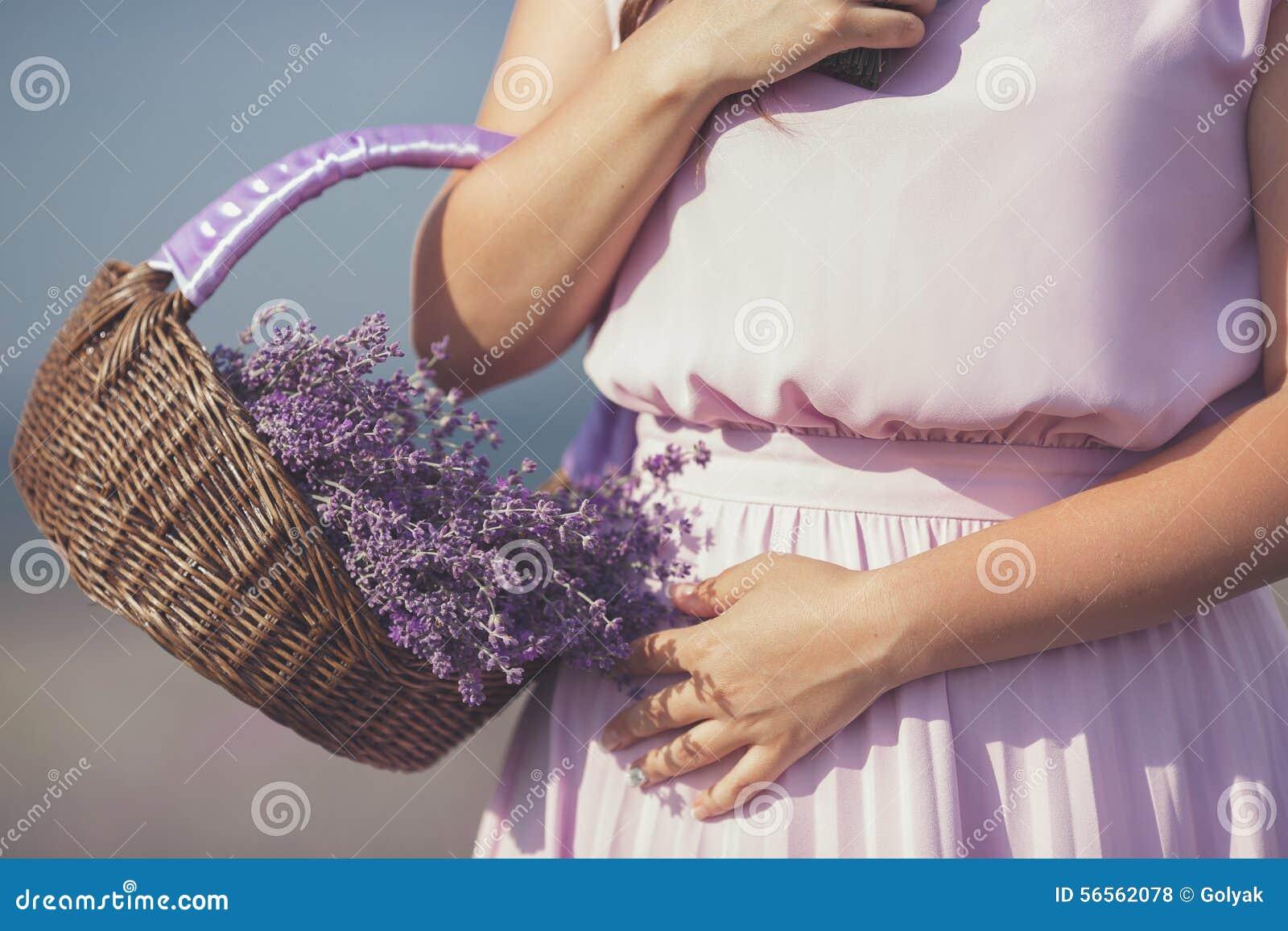 Download Νέα γυναίκα Lavender στον τομέα Στοκ Εικόνες - εικόνα από ευτυχία, ντυμένος: 56562078