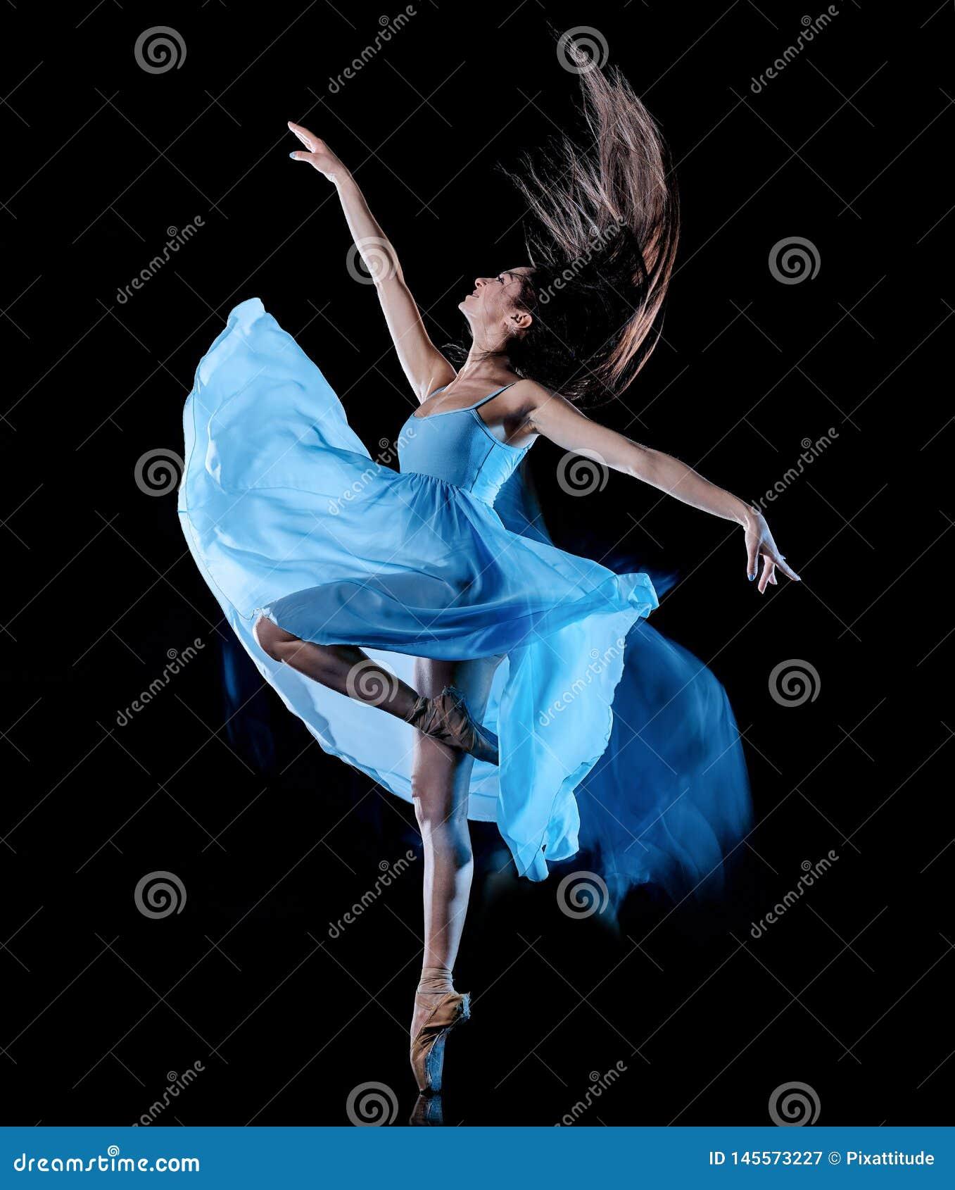 Νέα γυναικών μπαλέτου ελαφριά ζωγραφική υποβάθρου χορευτών χορός απομονωμένη μαύρη