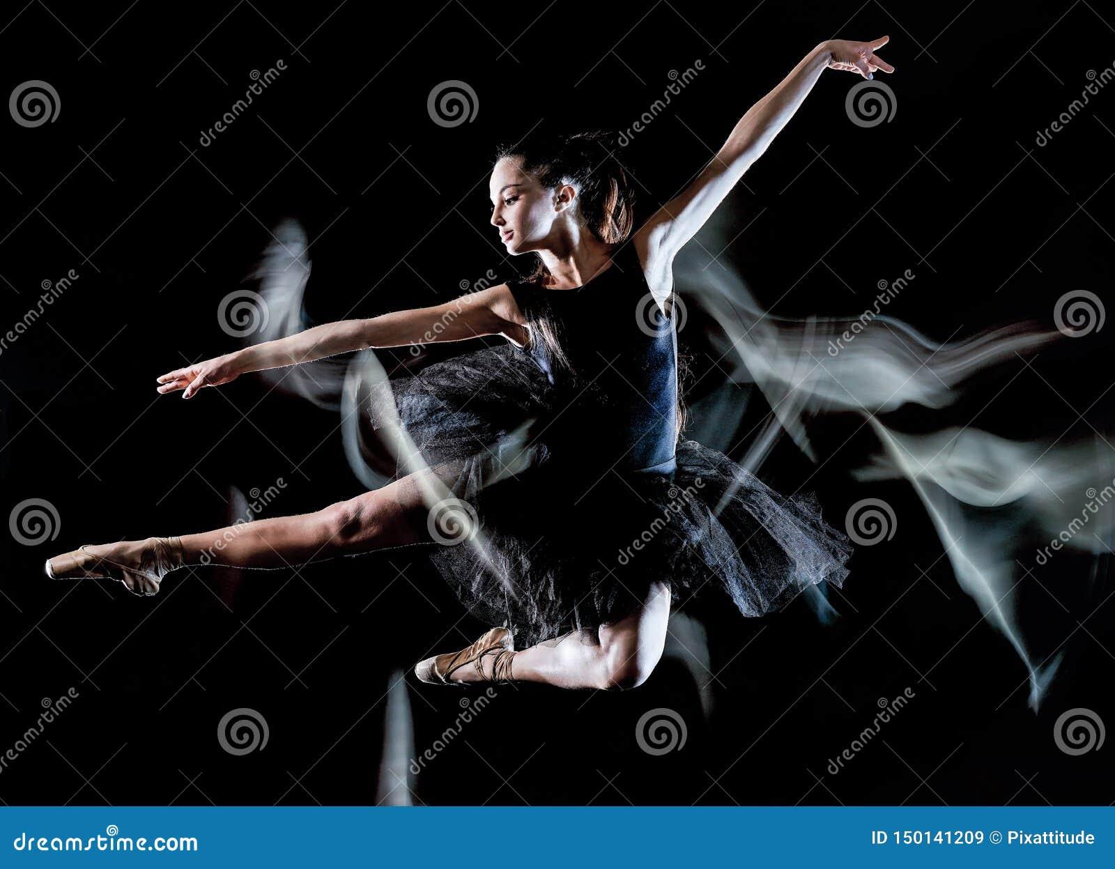 Νέα γυναικών ballerina ελαφριά ζωγραφική υποβάθρου χορευτών χορός απομονωμένη μαύρη