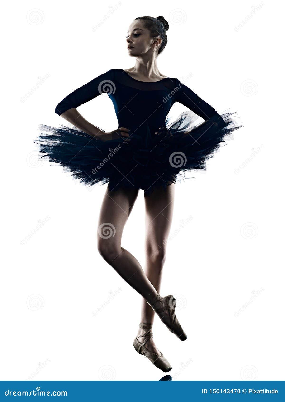 Νέα γυναικών ballerina μπαλέτου σκιαγραφία υποβάθρου χορευτών χορεύοντας απομονωμένη άσπρη