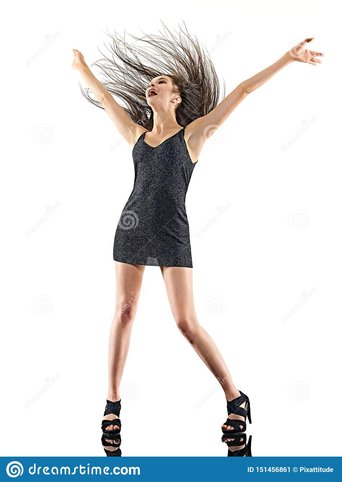Νέα γυναικών disco ευτυχής διασκέδαση υποβάθρου χορευτών χορός απομονωμένη άσπρη