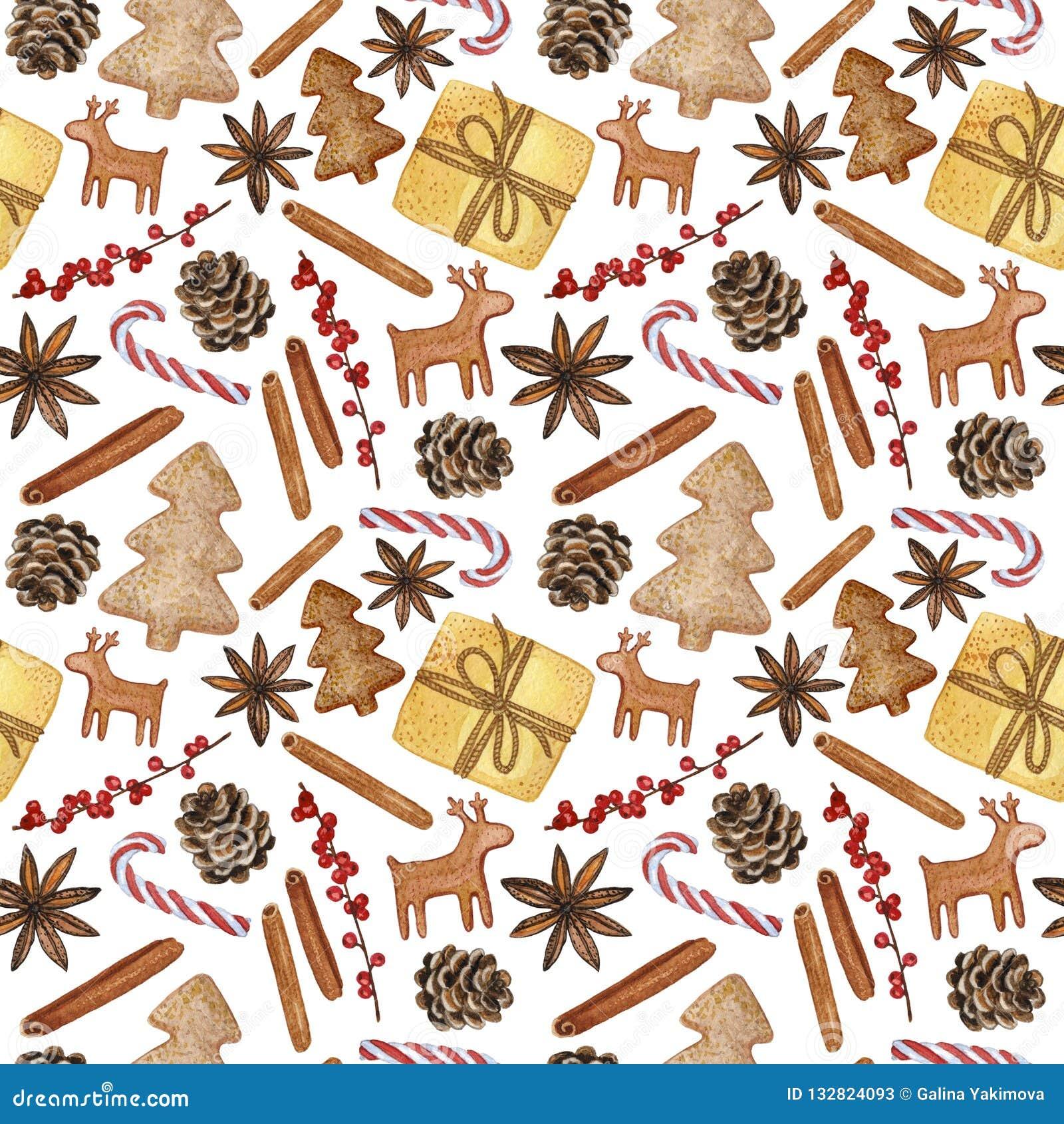 Νέα διακοσμητικά στοιχεία έτους και Χριστουγέννων - Hand-drawn απεικόνιση Watercolour, άνευ ραφής σχέδιο