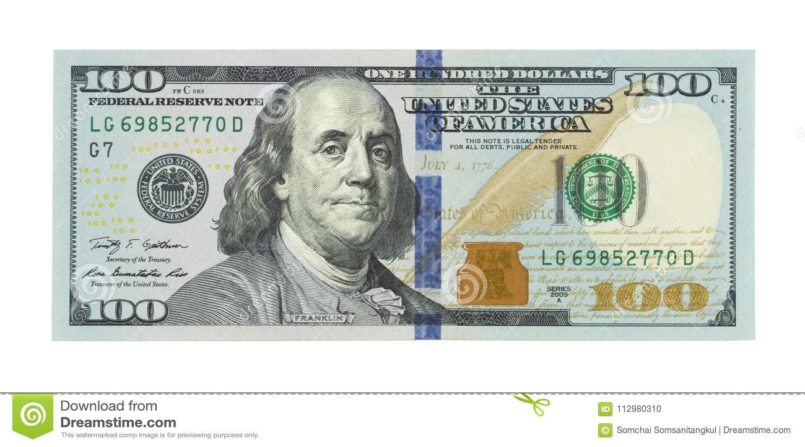 Νέα εκατό αμερικανικά δολάρια λογαριασμών, 100 bucks, αμερικανικό δολάριο 100