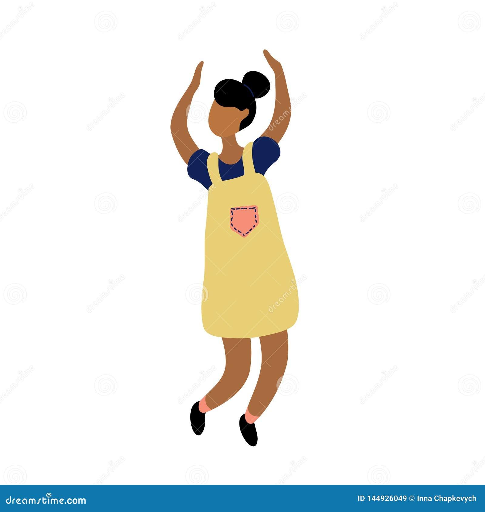 Νέα χορεύοντας μικροσκοπική μοντέρνη μαύρη γυναίκα