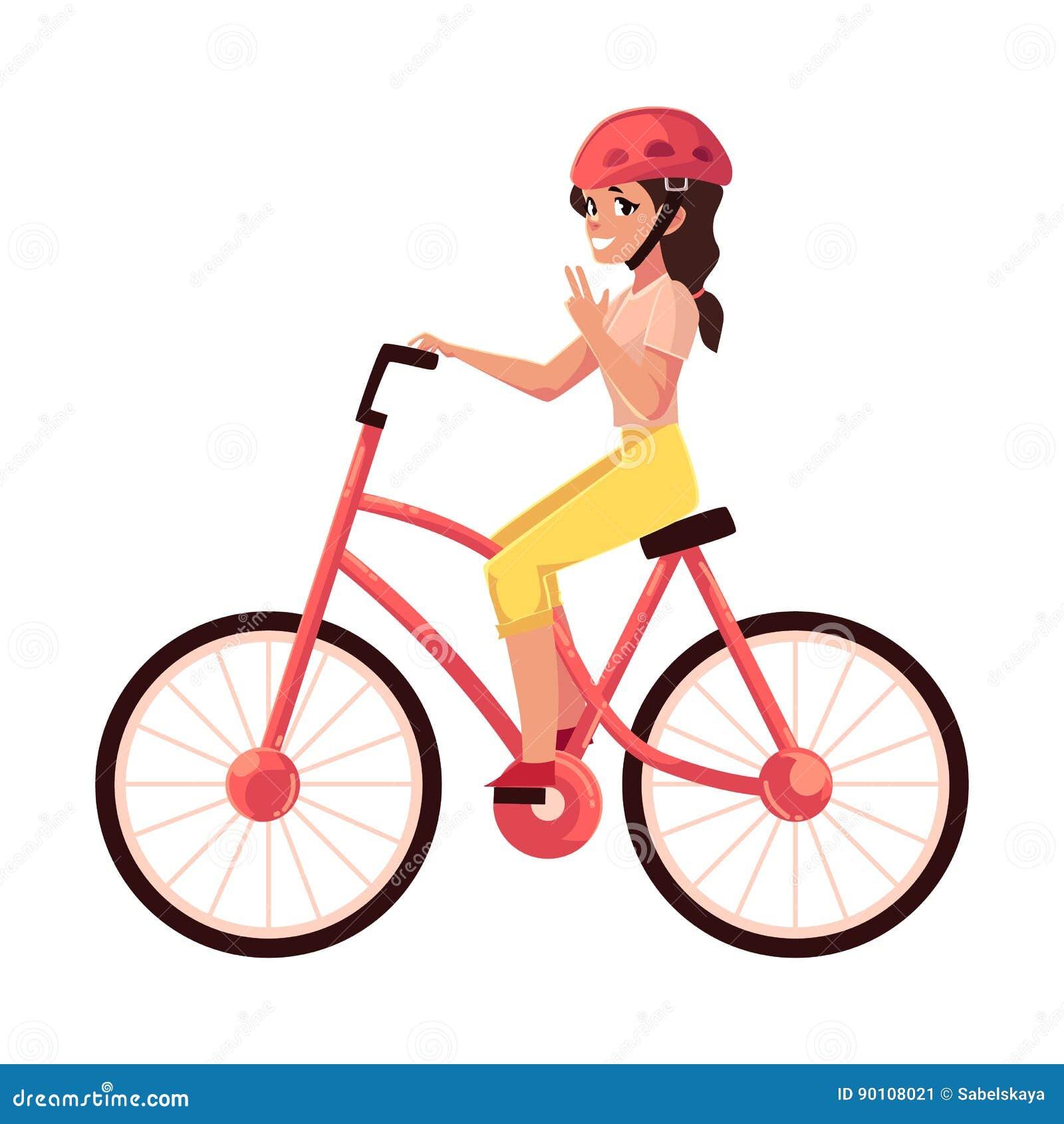 d829ac52a2c Νέα όμορφη γυναίκα, οδηγώντας ποδήλατο κοριτσιών, ανακύκλωση ...