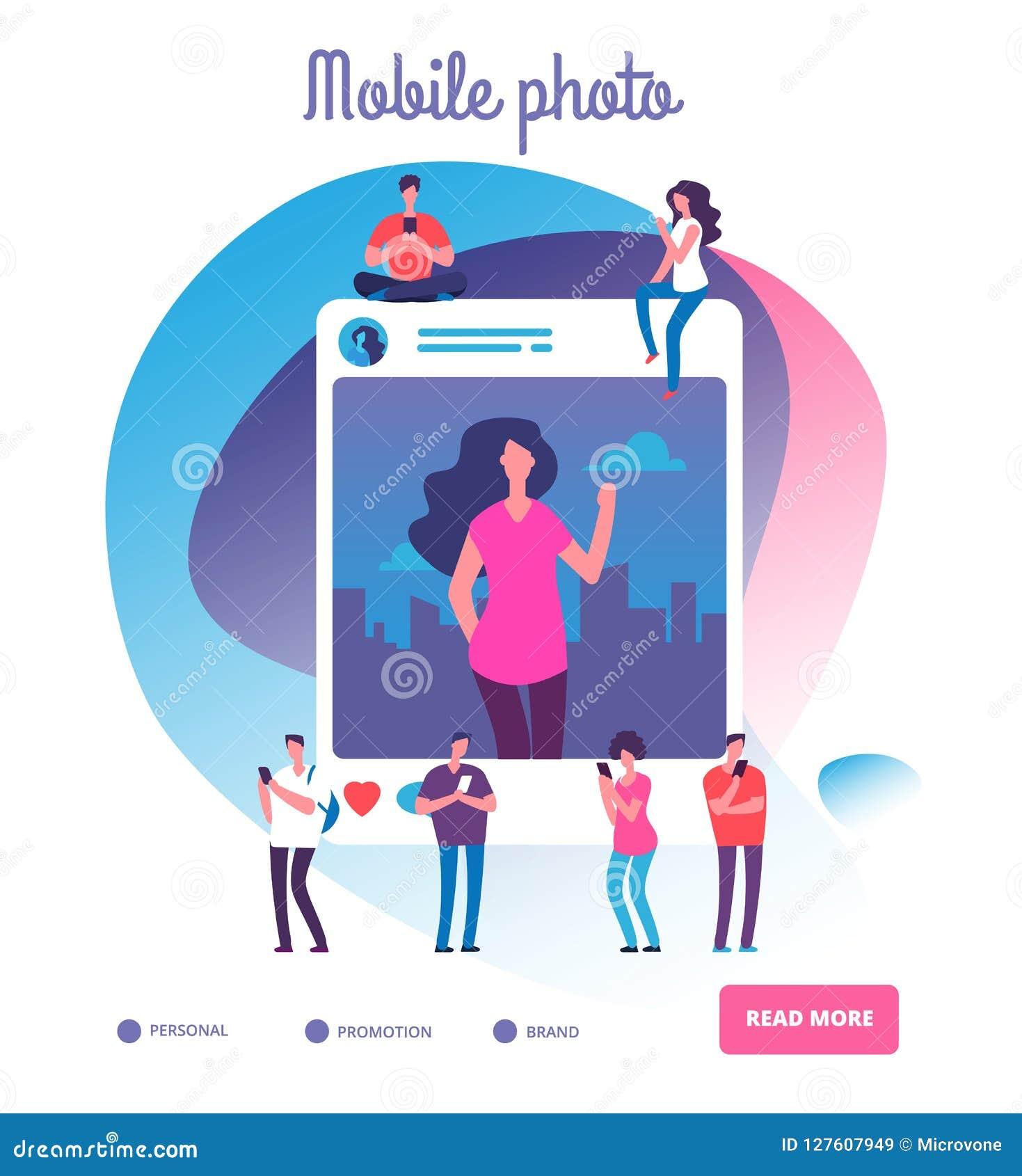 Νέοι που τοποθετούν τις μόνες φωτογραφίες Κοινωνική δημοσίευση δικτύων, νεαροί που γυρίζει τις εικόνες φωτογραφιών ή τον εθισμό s