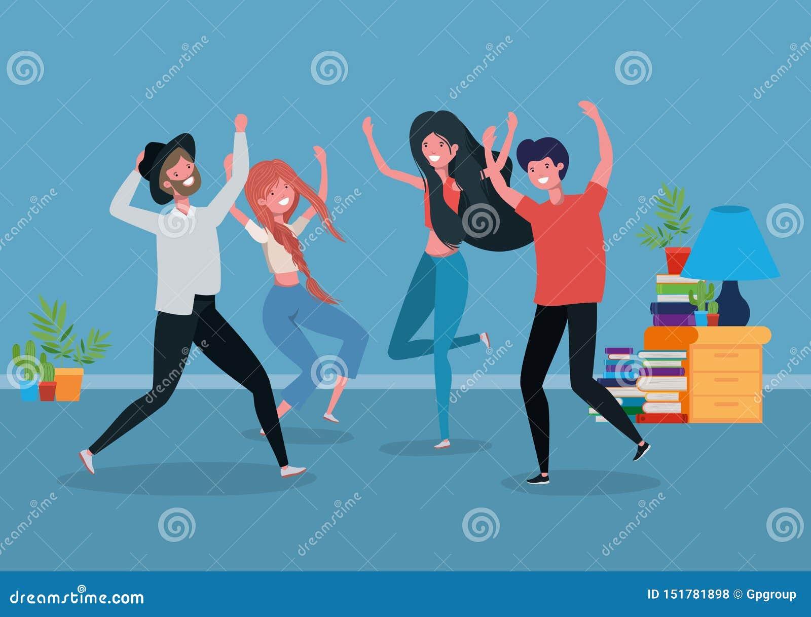 Νέοι που χορεύουν στο καθιστικό