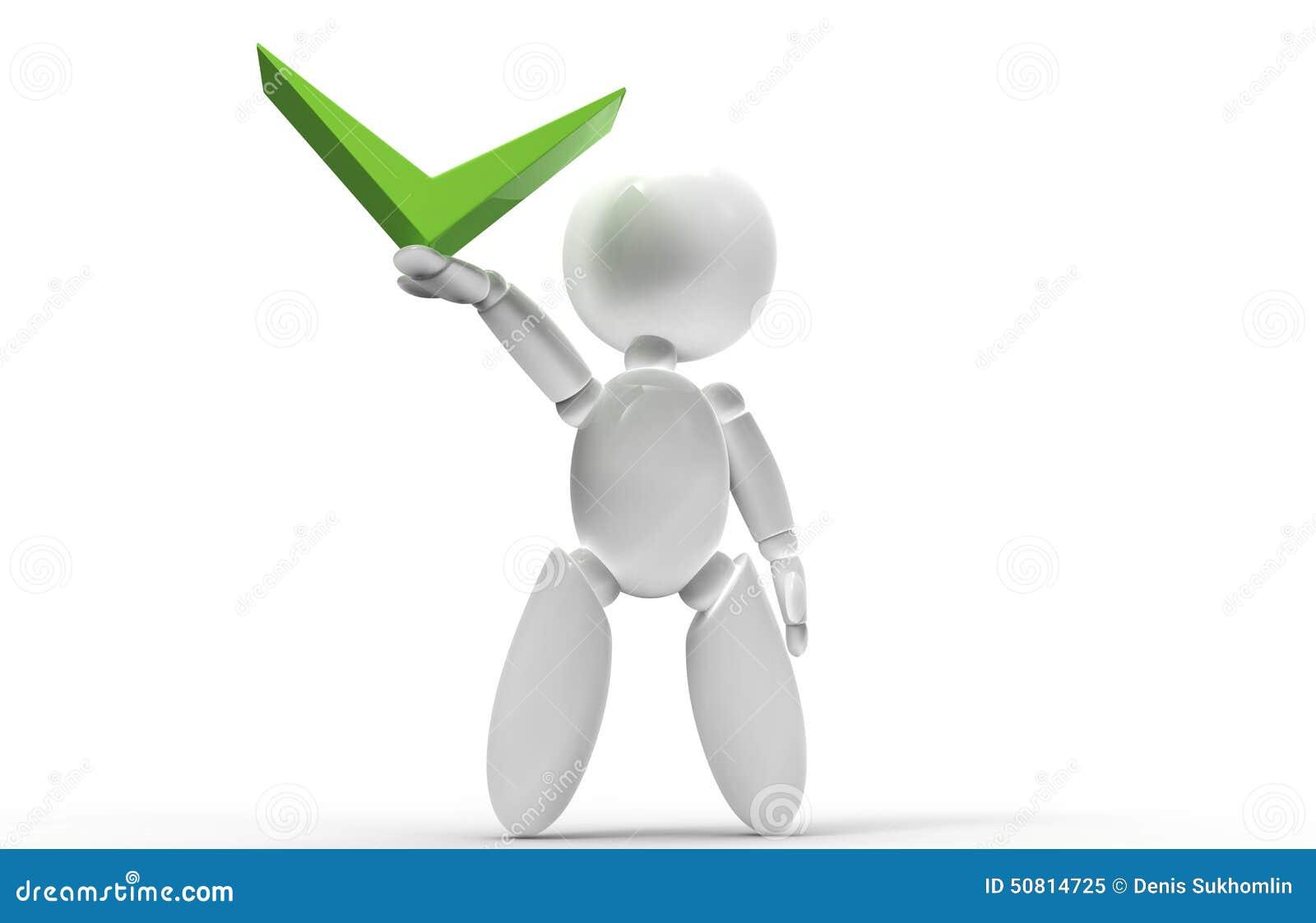 Νέοι τρισδιάστατοι άνθρωποι - πράσινο σημάδι ελέγχου