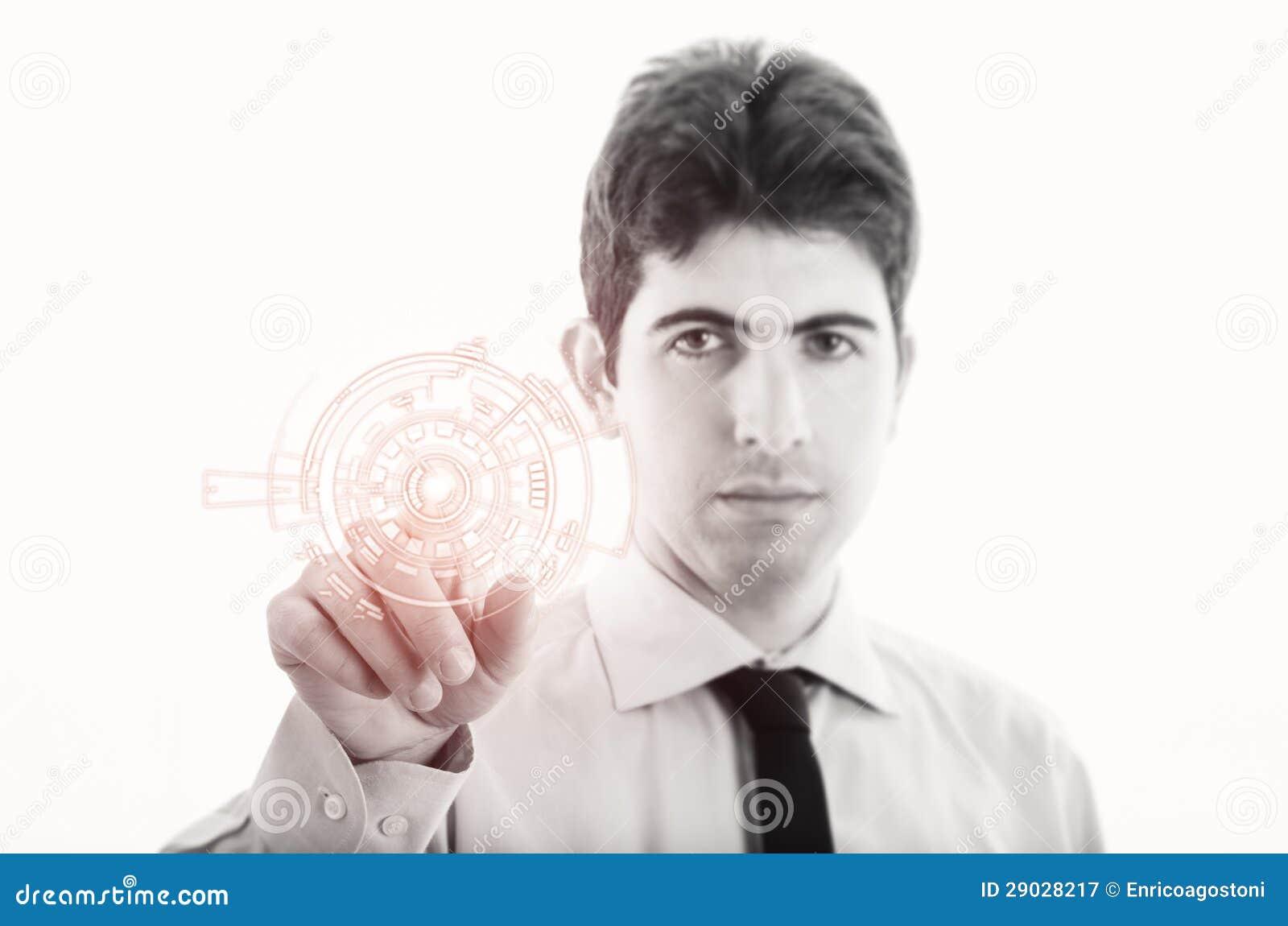 Νέος επιχειρηματίας με την εικονική διαπροσωπεία