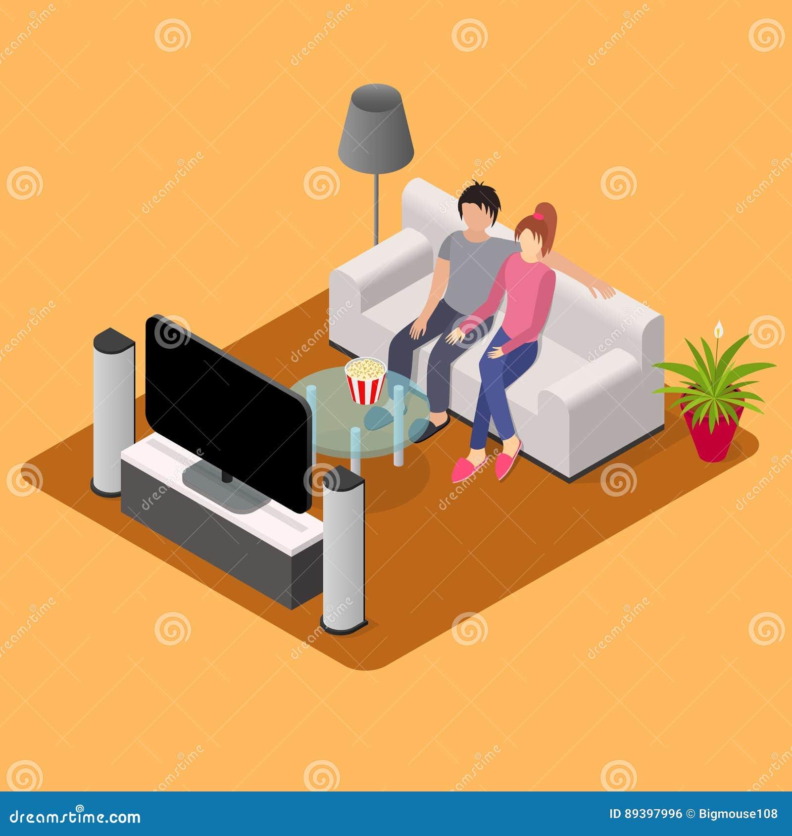 Νέο αγαπώντας ζεύγος που προσέχει τη Isometric άποψη TV διάνυσμα
