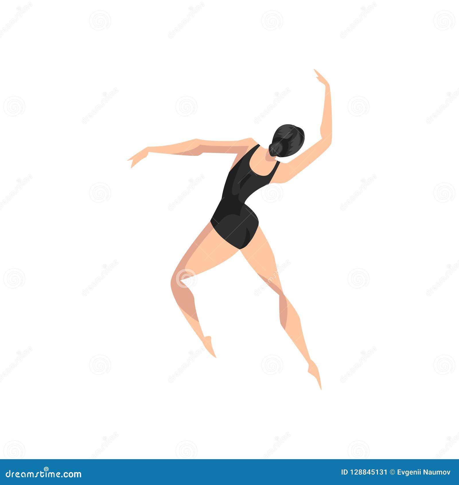 Νέο επαγγελματικό ballerina που χορεύει, κλασσικός χορευτής μπαλέτου στη μαύρη διανυσματική απεικόνιση leotard σε ένα άσπρο υπόβα