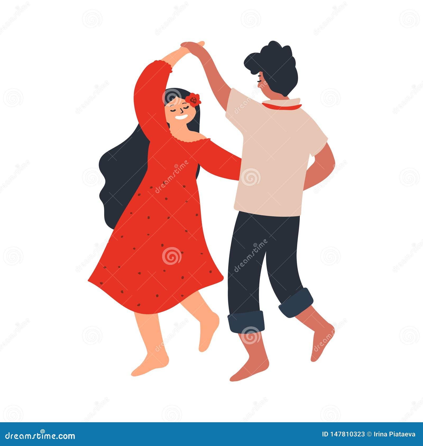 Νέο ζεύγος που χορεύει χωρίς παπούτσια Φίλος και φίλη εραστών χαρακτήρες που απομονώνονται στο άσπρο υπόβαθρο Διανυσματική απεικό
