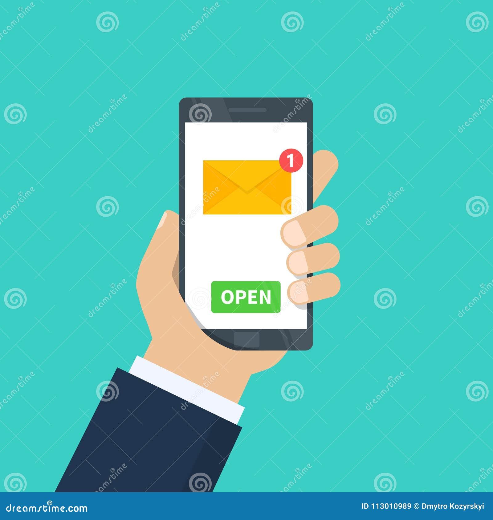 Νέο ηλεκτρονικό ταχυδρομείο Ανθρώπινο χέρι που κρατά το smartphone με την εφαρμογή ηλεκτρονικού ταχυδρομείου Κινητό τηλέφωνο, οθό