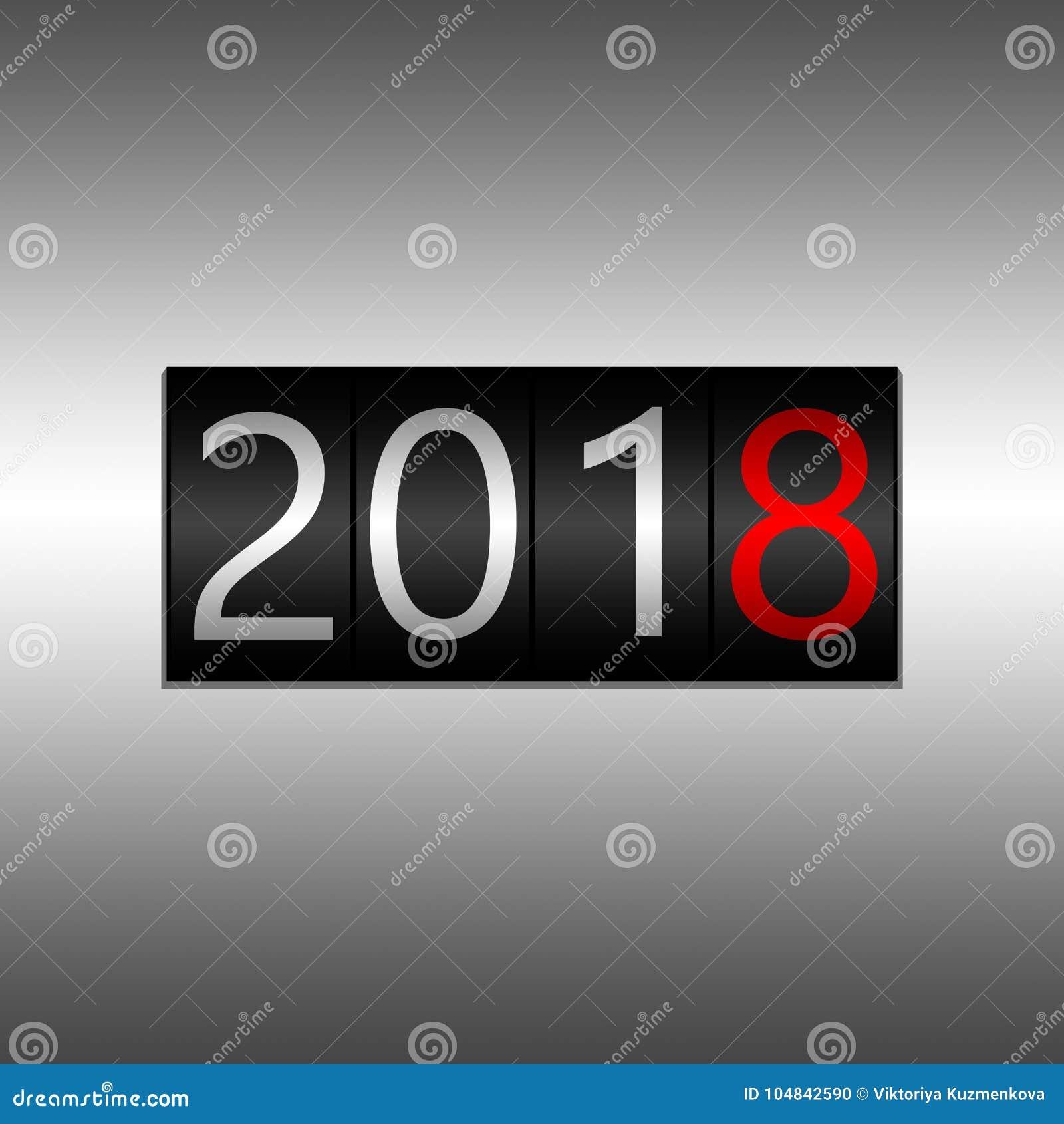 2018 Νέο μαύρο οδόμετρο έτους στο γκρίζο υπόβαθρο - νέο έτος 2018