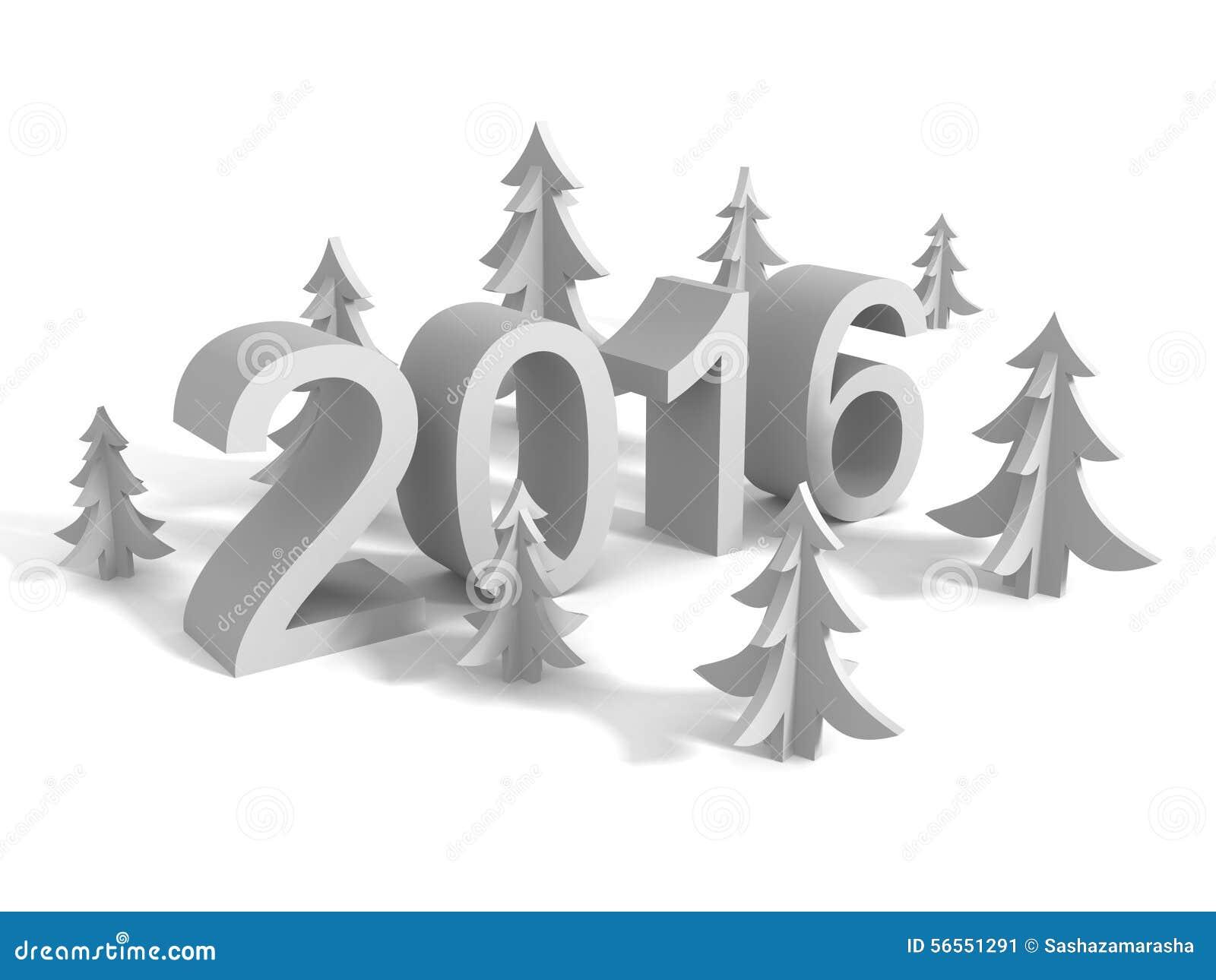 Download Νέο σημάδι έτους 2016 με τα χριστουγεννιάτικα δέντρα Απεικόνιση αποθεμάτων - εικονογραφία από αστέρι, κάρτα: 56551291
