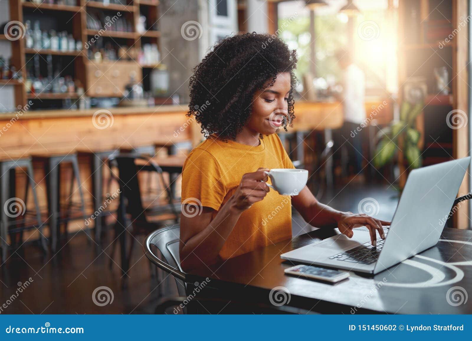 Νέο φλυτζάνι εκμετάλλευσης γυναικών στο διαθέσιμο χρησιμοποιώντας lap-top