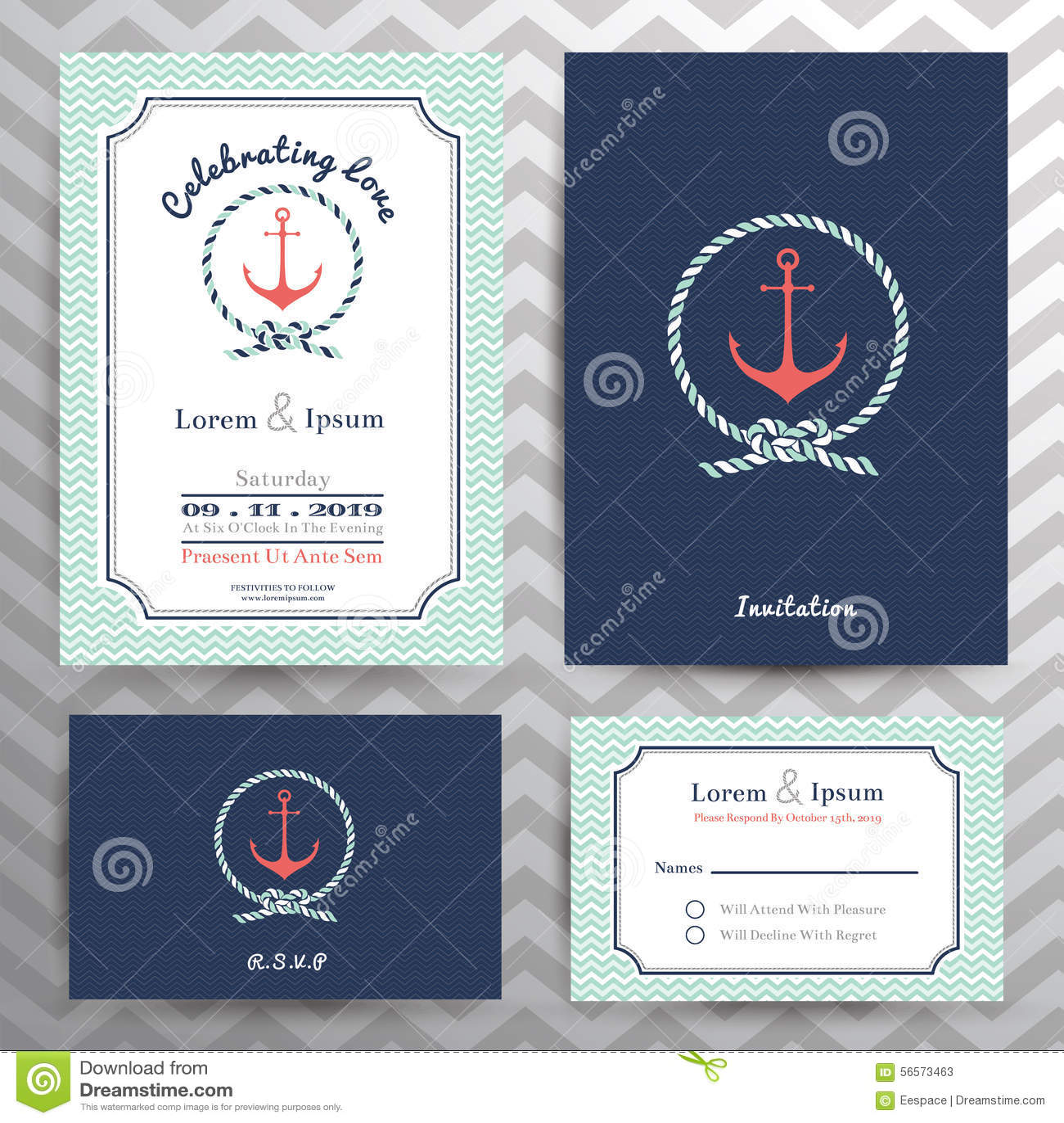 Download Ναυτικά γαμήλια πρόσκληση και σύνολο προτύπων καρτών RSVP Διανυσματική απεικόνιση - εικονογραφία από εορτασμός, πρόσκληση: 56573463