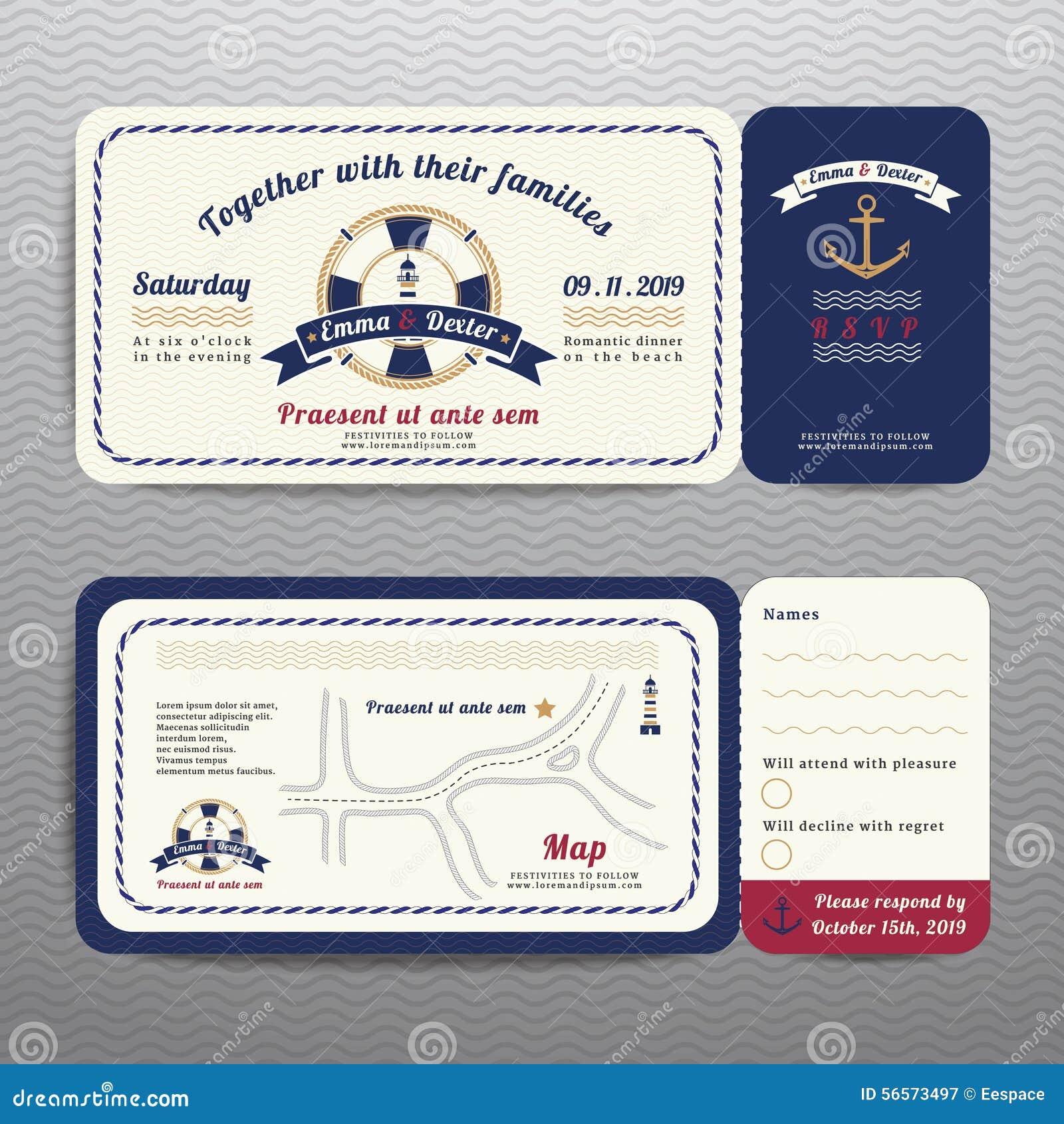 Ναυτική γαμήλια πρόσκληση εισιτηρίων και κάρτα RSVP με το σχέδιο σχοινιών αγκύρων