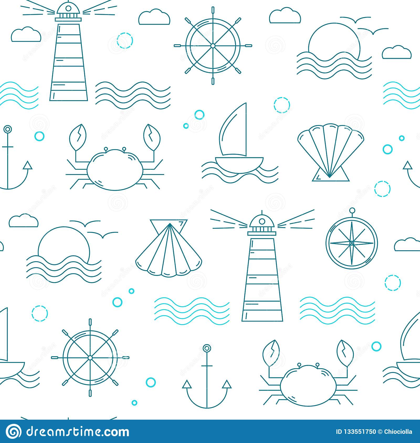 Ναυτικό άνευ ραφής σχέδιο με τα λεπτά στοιχεία γραμμών