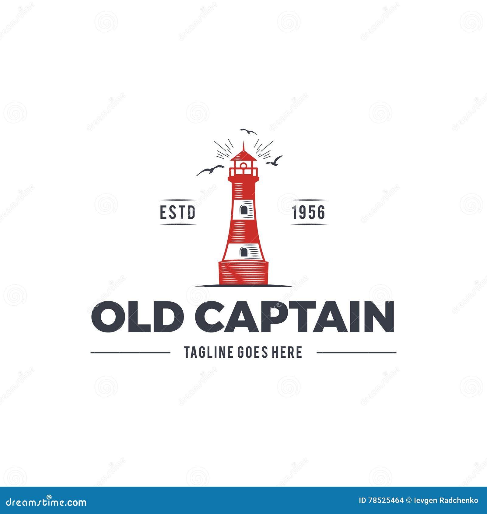 Ναυτικό σχέδιο λογότυπων, παλαιό έμβλημα καπετάνιου εικονιδίων με τα στοιχεία θάλασσας - ο φάρος, seagulls, ηλιοφάνεια που πλέει