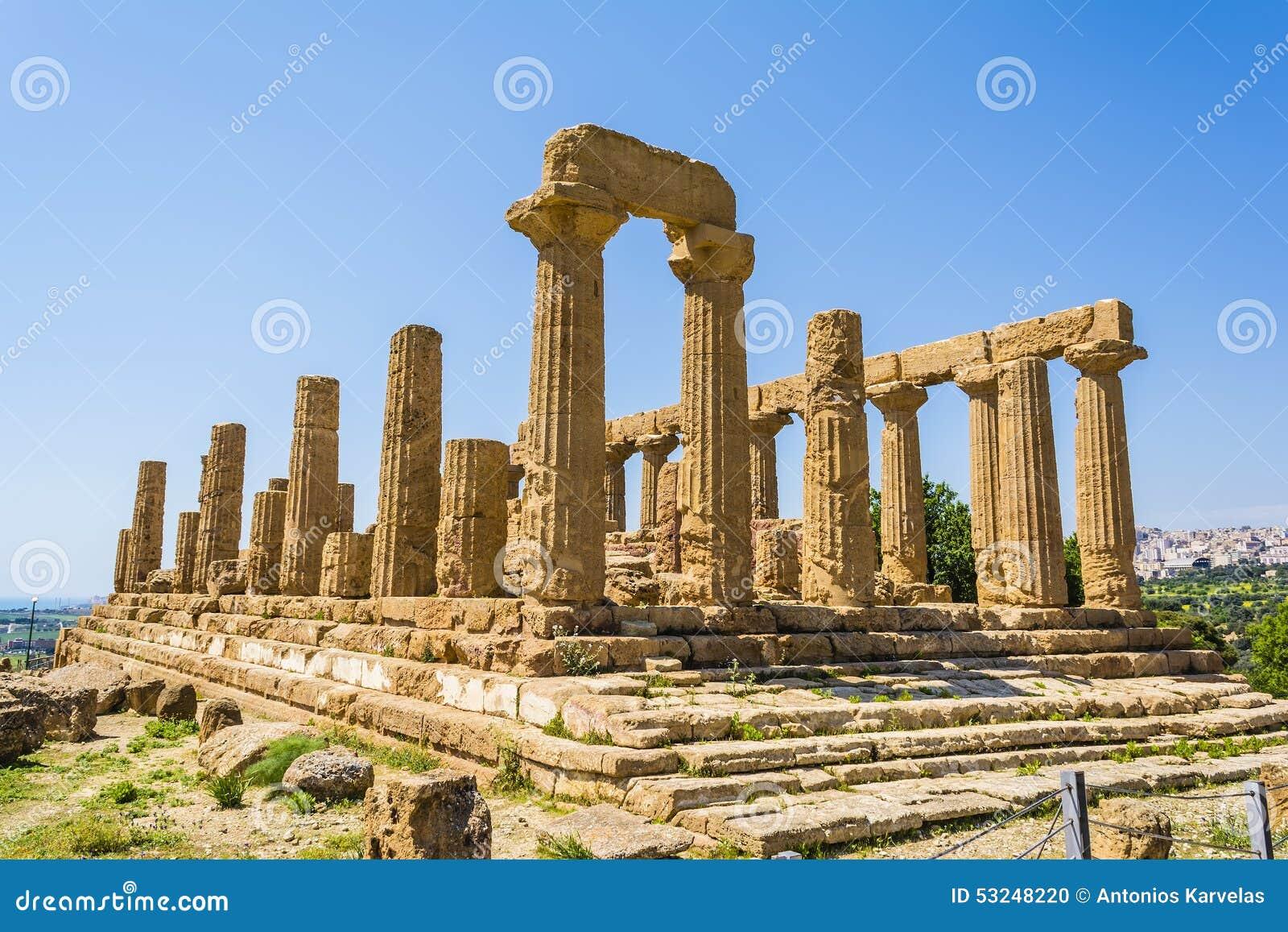Ναός αρχαίου Έλληνα του Θεού της Juno, Agrigento, Σικελία, Ιταλία