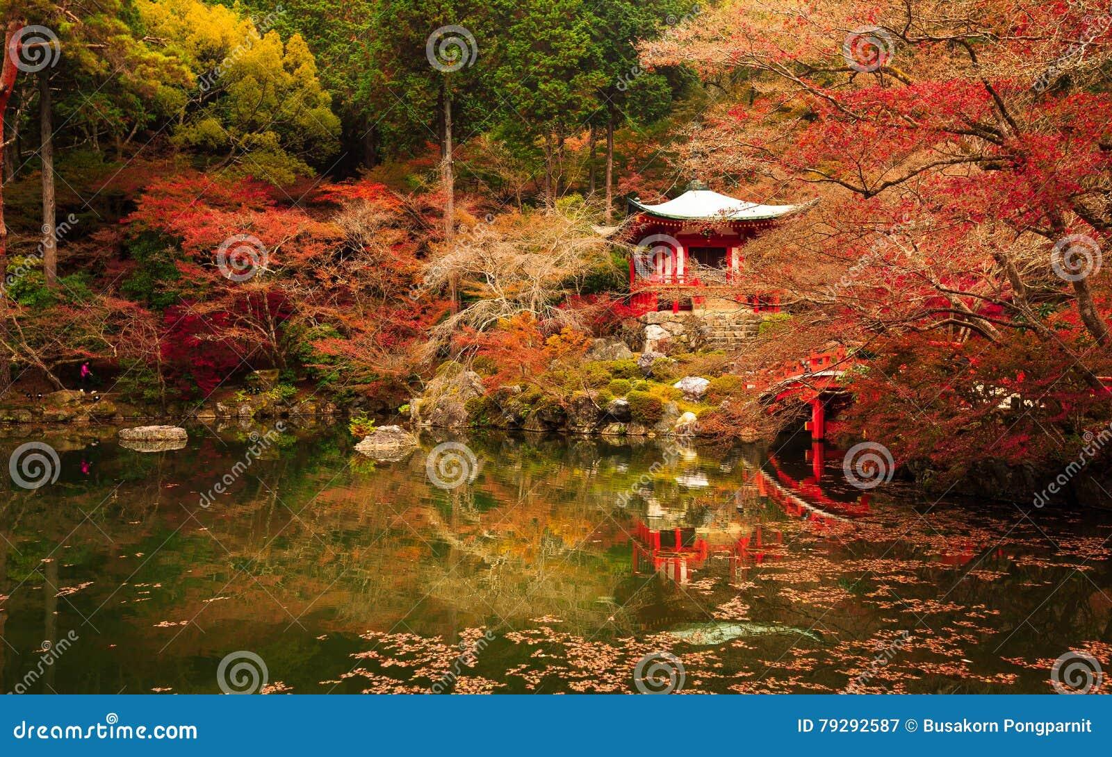 Ναός Daigoji, φθινόπωρο του Κιότο στην Ιαπωνία