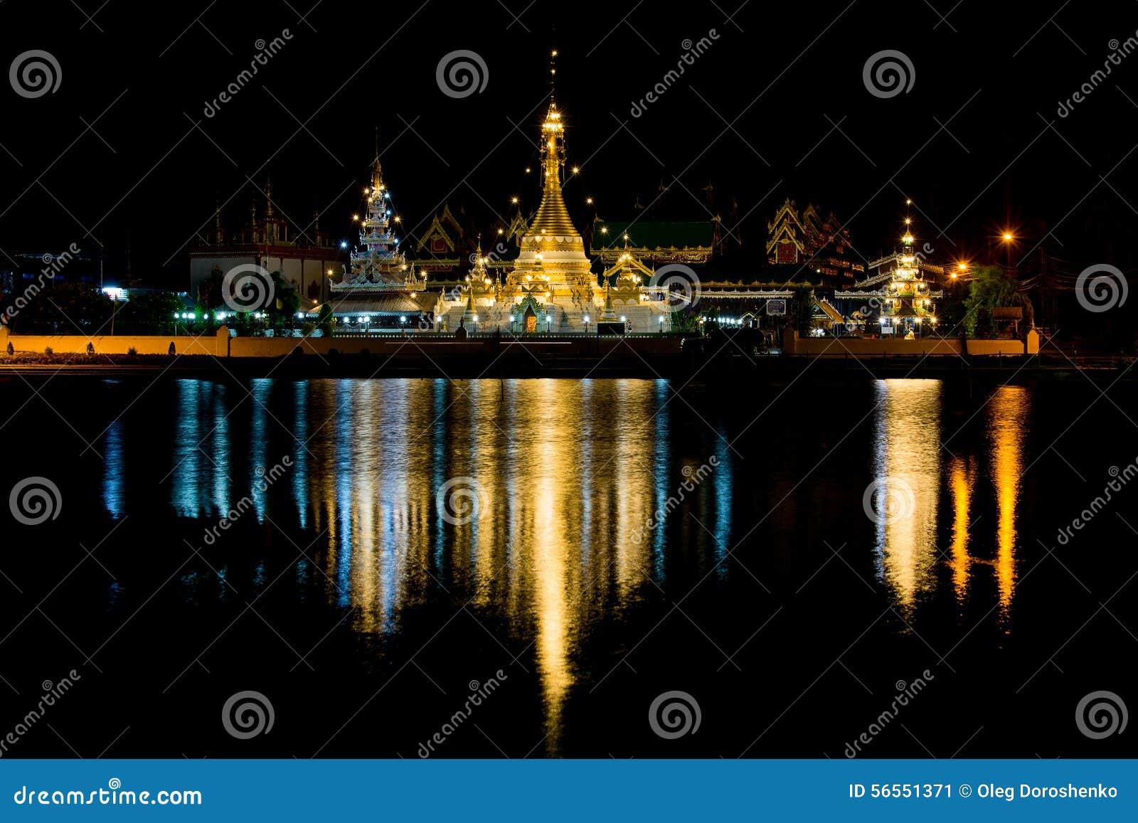 Download Ναός Jong Klang Wat τη νύχτα, Ταϊλάνδη Στοκ Εικόνα - εικόνα από ειρηνικός, ηρεμία: 56551371