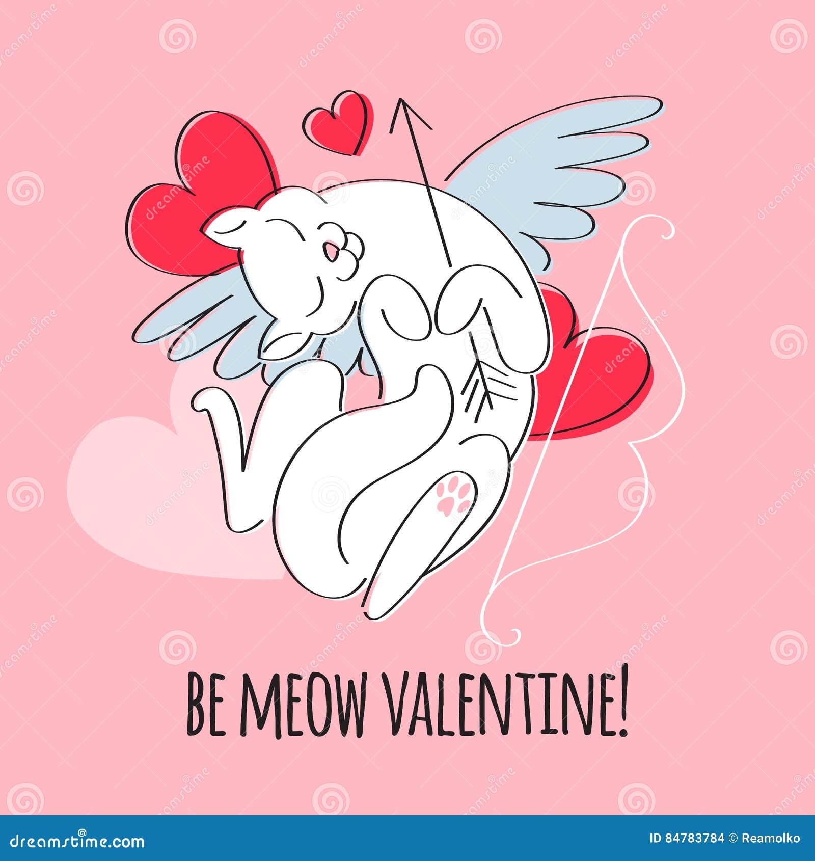 Να είστε ο βαλεντίνος μου - cupid απεικόνιση γατών