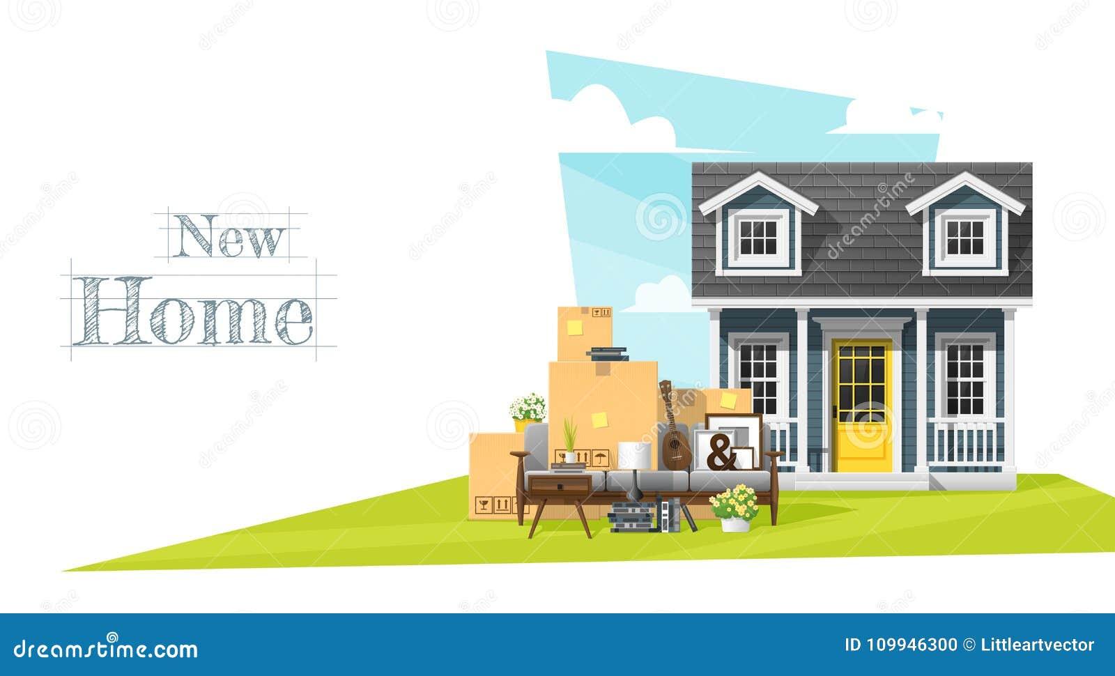Να κινήσει κατ  οίκον το υπόβαθρο έννοιας με το μικρά σπίτι και τα έπιπλα