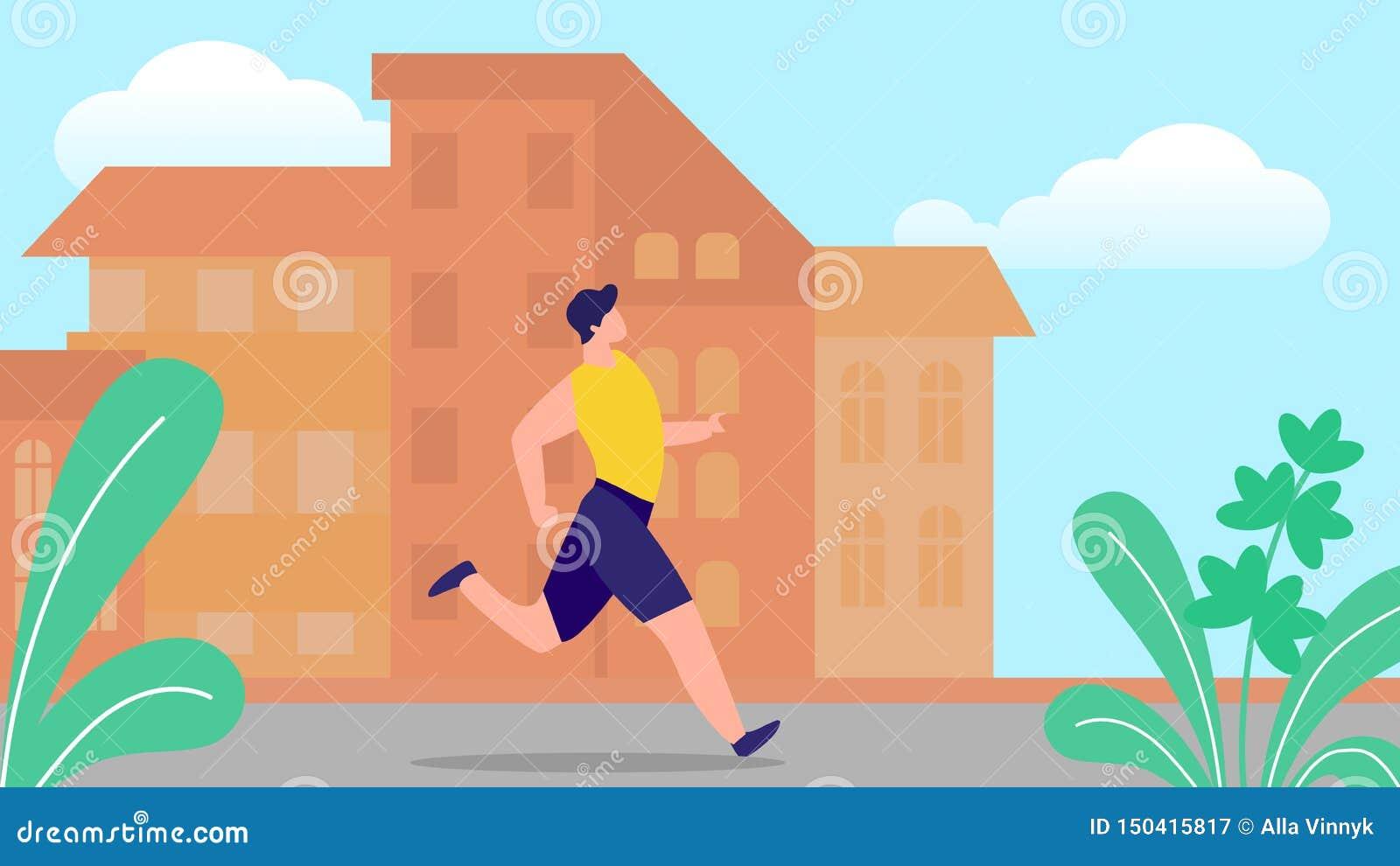 Νεαρός άνδρας που τρέχει στο υπόβαθρο θερινής εικονικής παράστασης πόλης