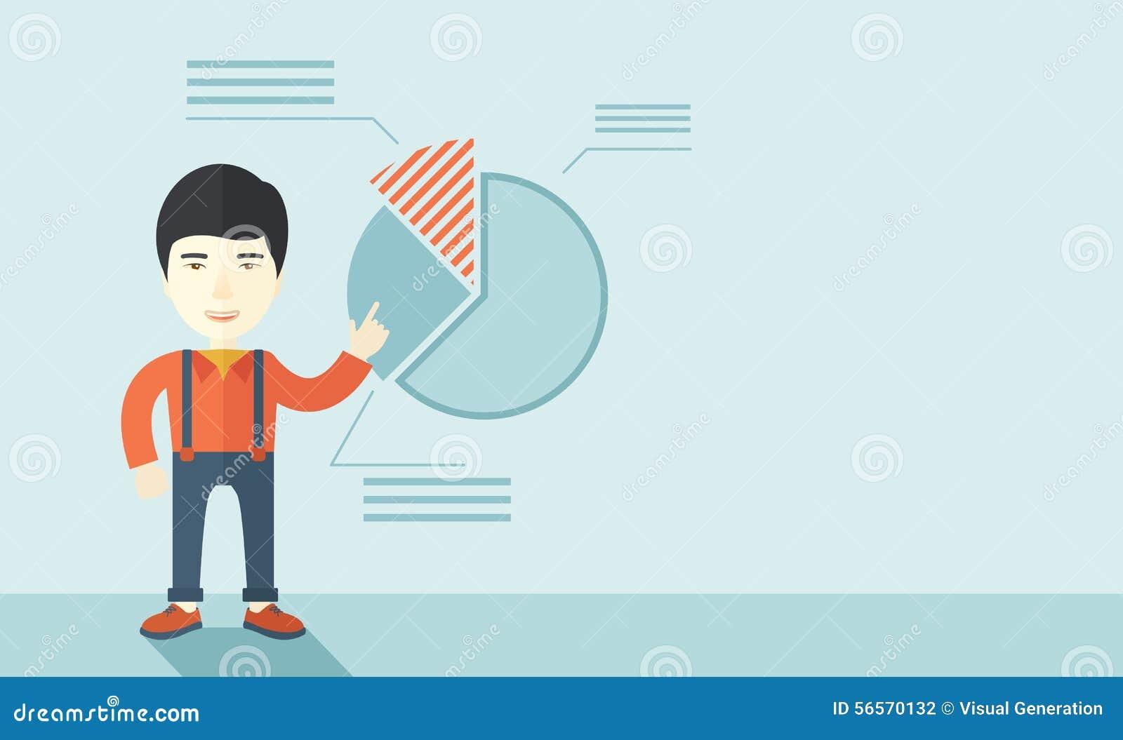 Download Νεαρός άνδρας με το οικονομικό διάγραμμα πιτών του Διανυσματική απεικόνιση - εικονογραφία από εργασία, μάρκετινγκ: 56570132