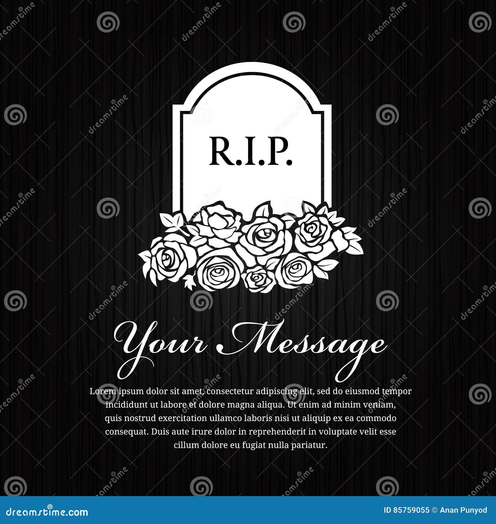 Νεκρική κάρτα - ο σοβαρός Stone με το Word Ρ Ι Π και αυξήθηκε στο μαύρο ξύλινο διανυσματικό σχέδιο υποβάθρου