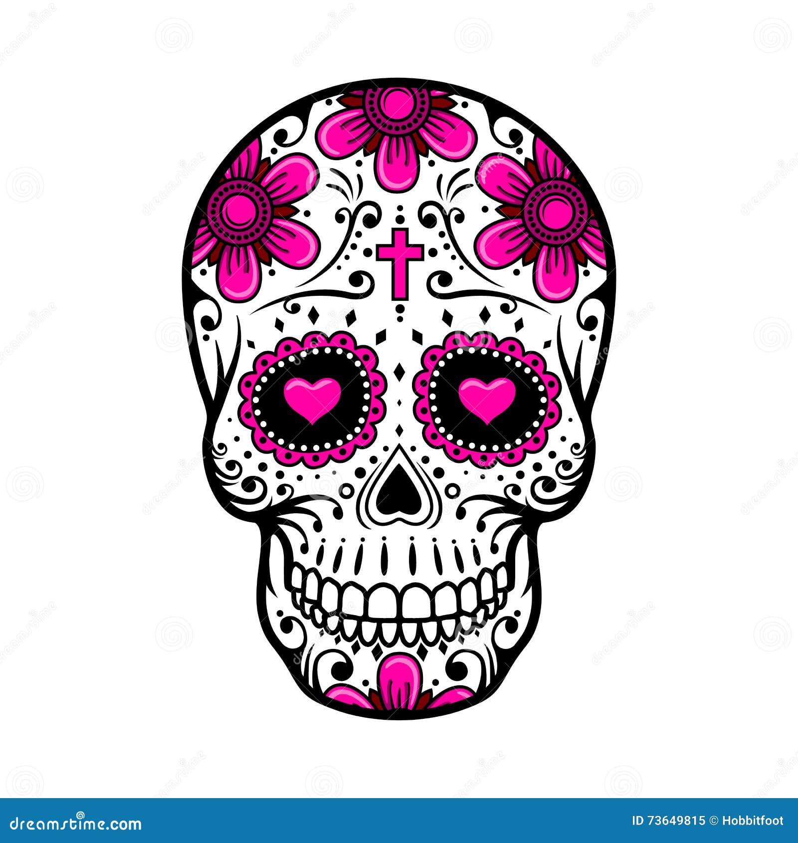 νεκρό κρανίο ημέρας δερματοστιξία λουλουδιών ζάχαρης επίσης corel σύρετε το διάνυσμα απεικόνισης
