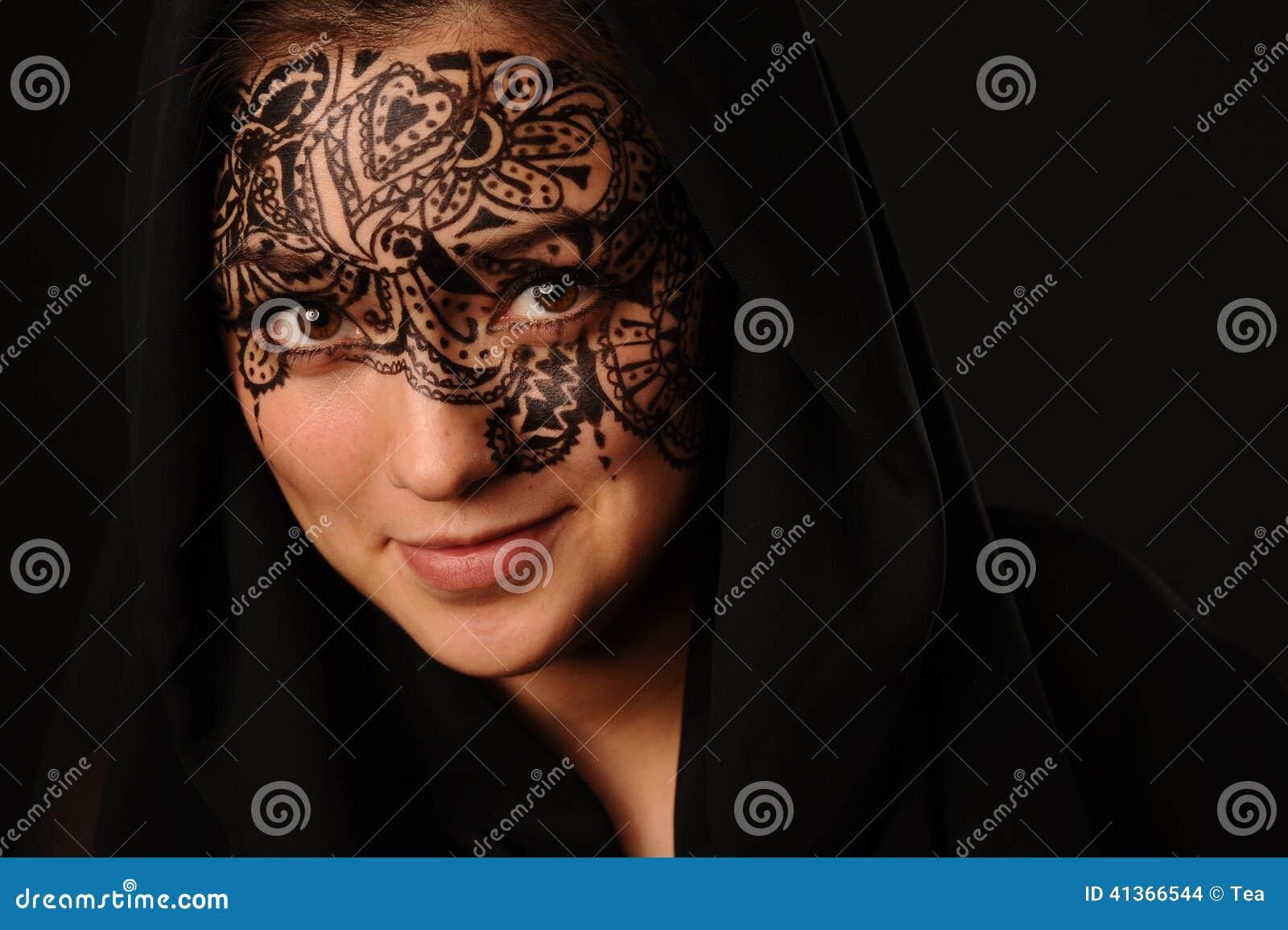 νεολαίες γυναικών tracery προσώπου ομορφιάς