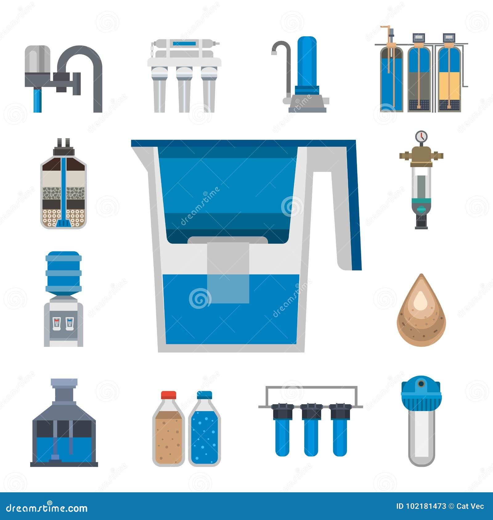 Νερού καθαρισμού εικονιδίων διανυσματική απεικόνιση συλλογής επεξεργασίας  αντλιών στροφίγγων φρέσκια ανακύκλωσης astewater b90cd4910f0