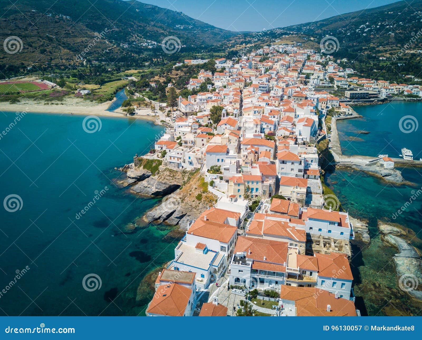 νησί Άνδρου Ελλάδα εναέρια όψη ελληνικά νησιά