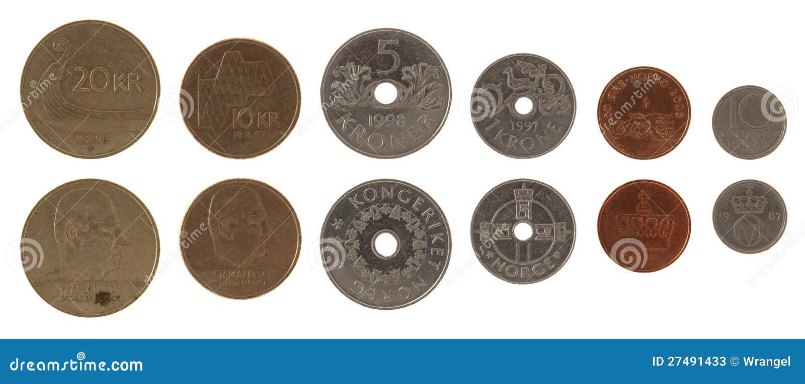 Νομίσματα που απομονώνονται νορβηγικά στο λευκό