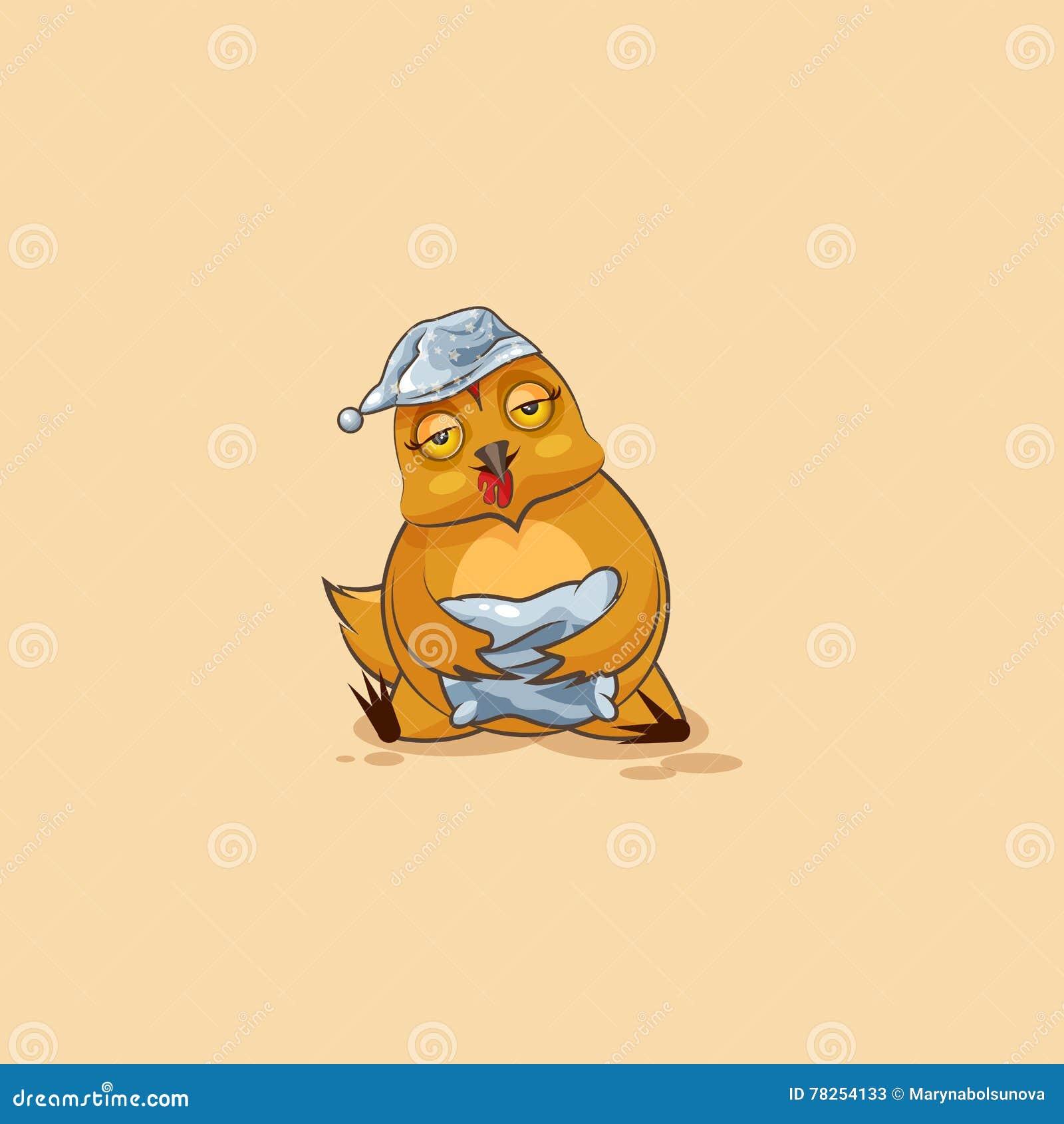 Νυσταλέα κότα κινούμενων σχεδίων χαρακτήρα Emoji