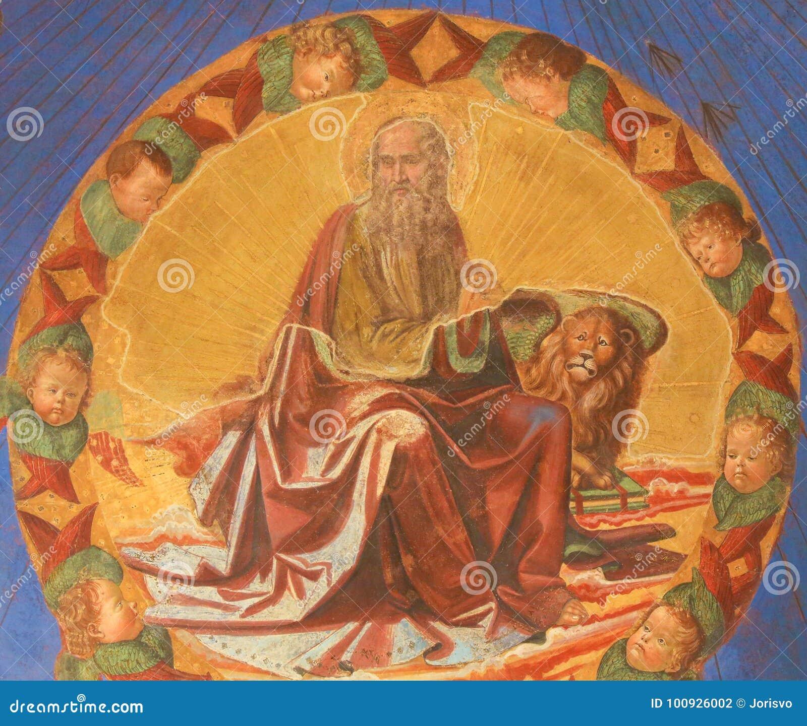 Νωπογραφία στο SAN Gimignano - χαρακτηρίστε το Ευαγγελιστή