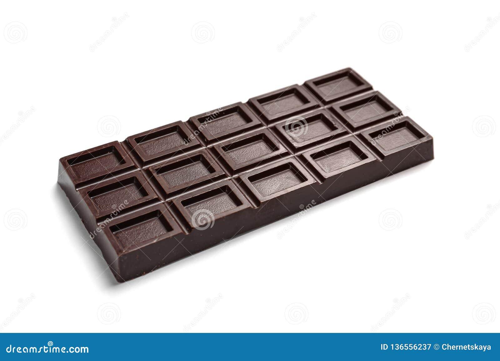 Νόστιμος σκοτεινός φραγμός σοκολάτας στο λευκό