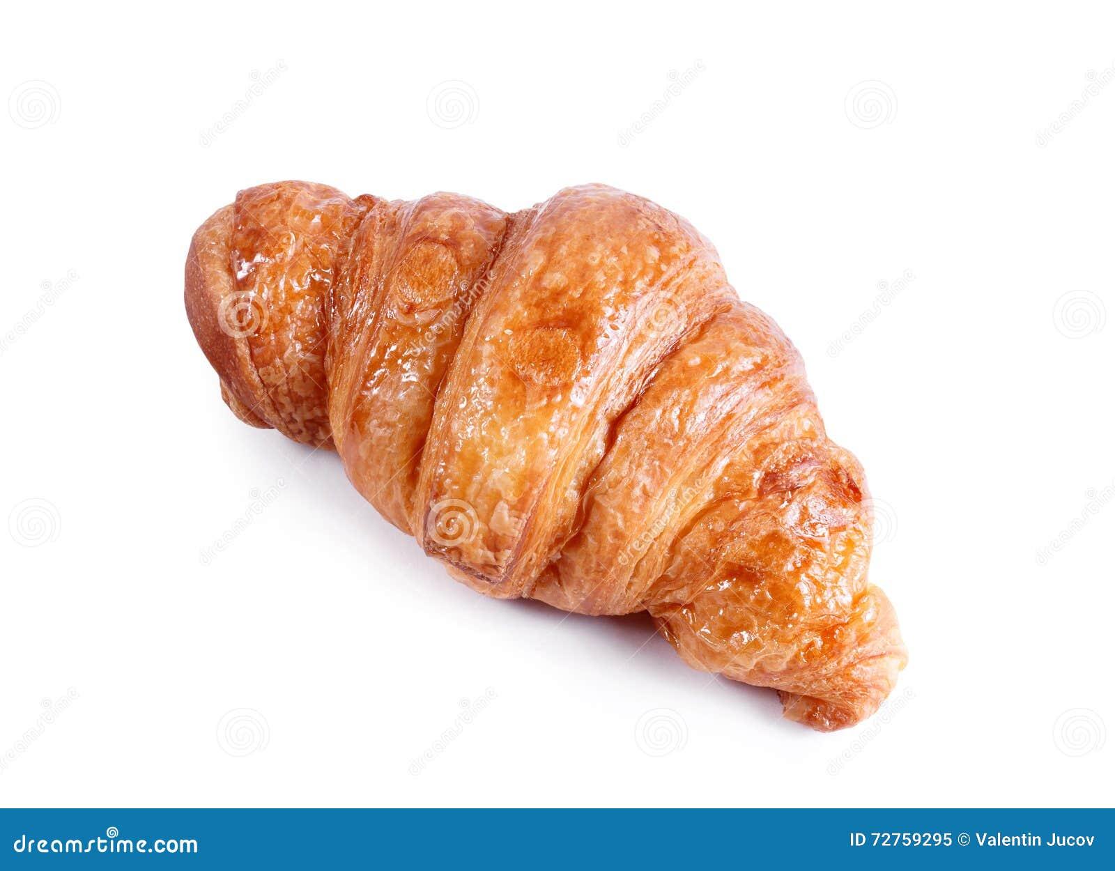 Νόστιμος croissant με τη σοκολάτα και μαρμελάδα που απομονώνεται στο λευκό