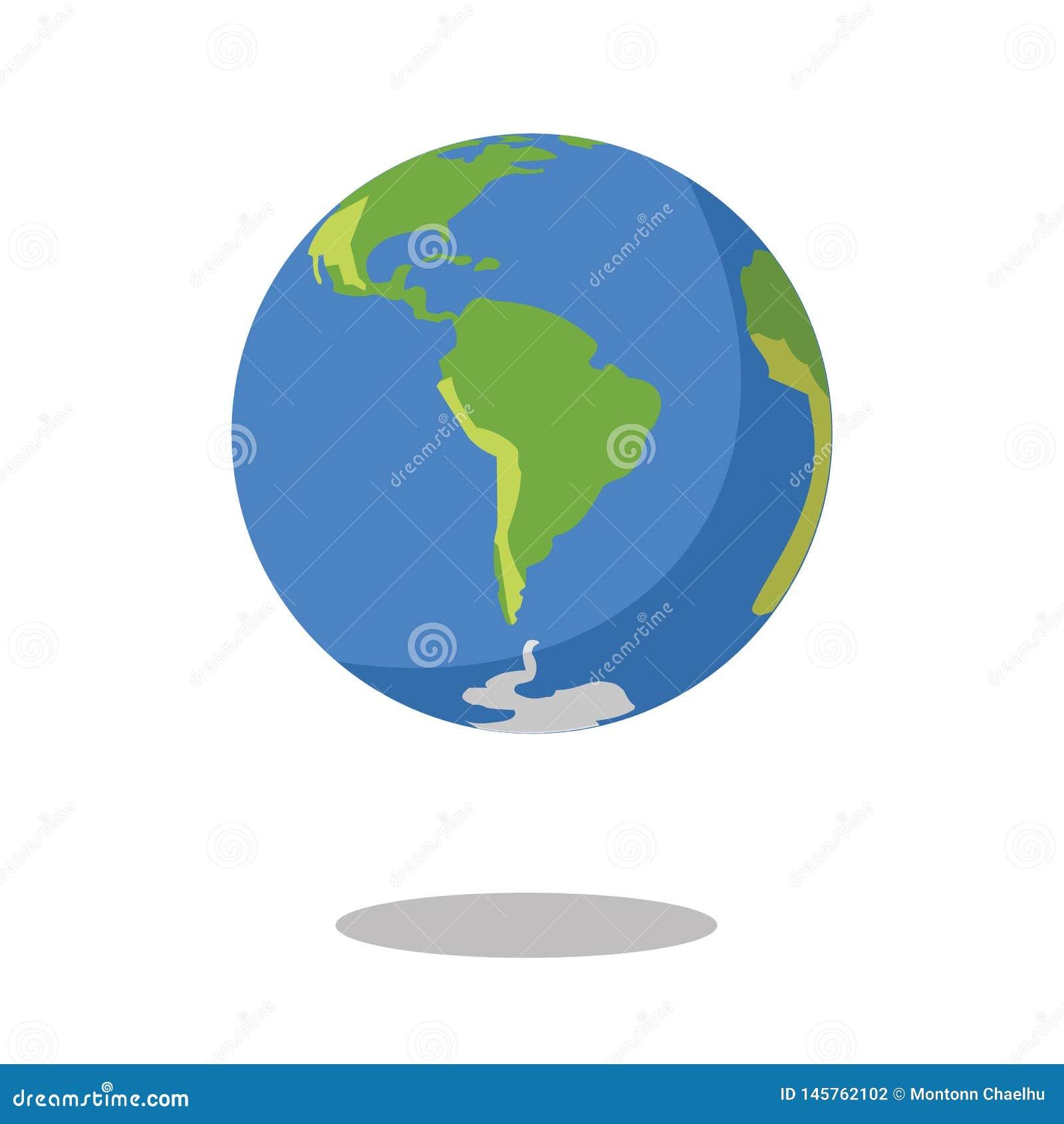 Νότια Αμερική που απομονώνεται στην άσπρη διανυσματική απεικόνιση εικονιδίων πλανήτη Γη υποβάθρου επίπεδη