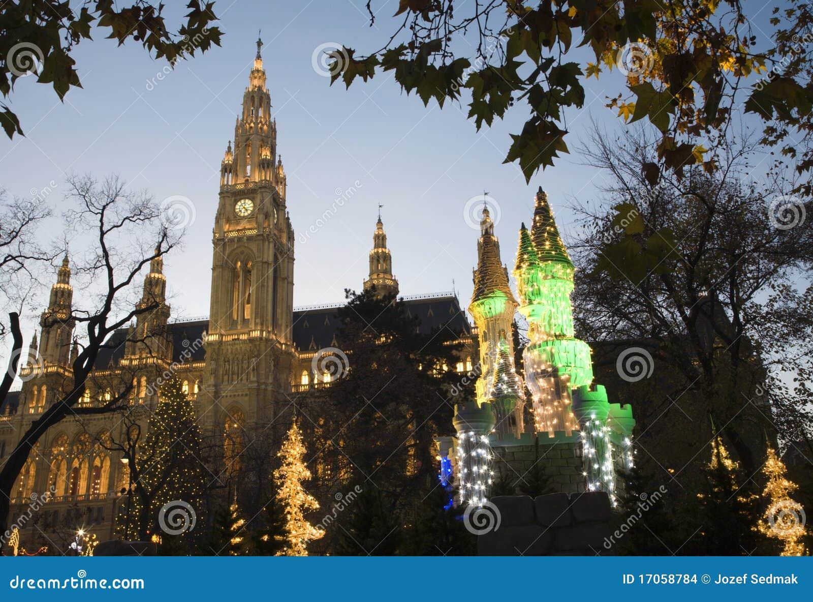 νύχτα townhall Βιέννη αγοράς Χριστ&omic
