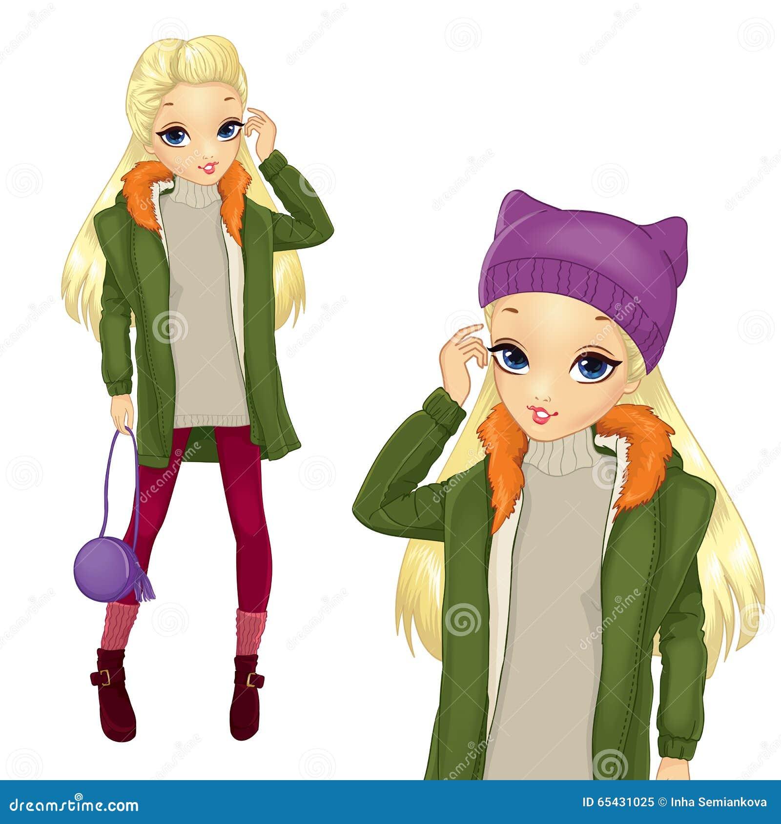 Ξανθό κορίτσι ύφους πόλεων στο παλτό Greeen