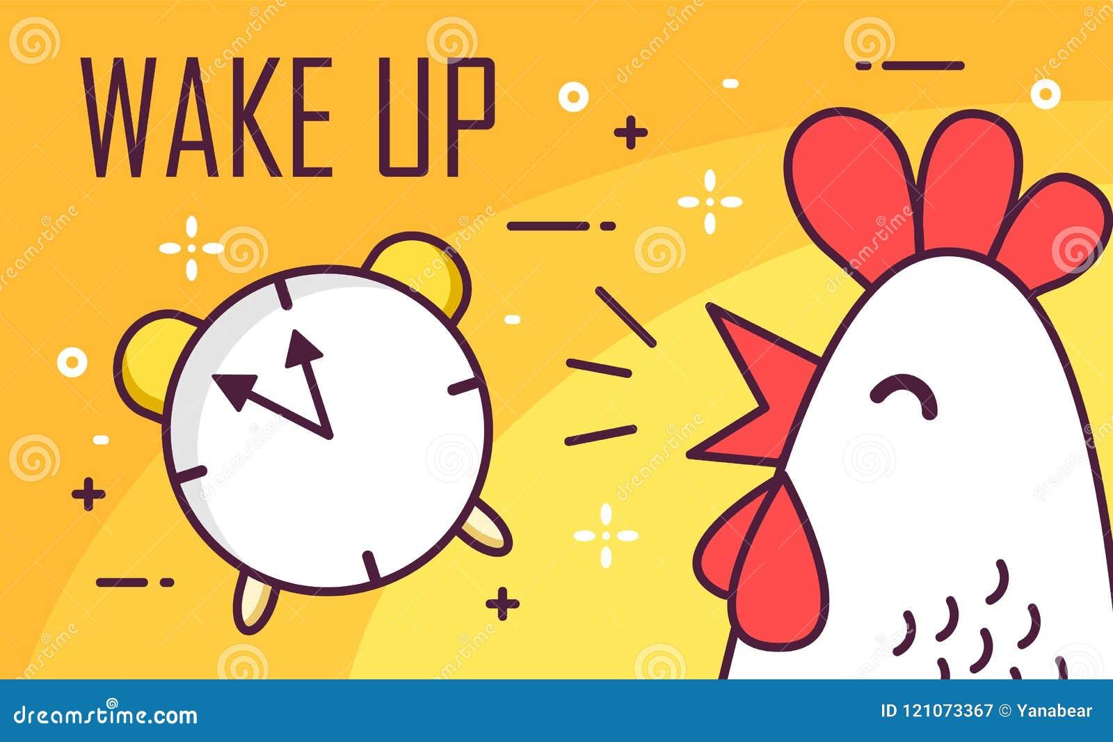 Ξυπνήστε αφίσα με το συναγερμό και τον κόκκορα Λεπτό επίπεδο σχέδιο γραμμών Διανυσματικό υπόβαθρο καλημέρας