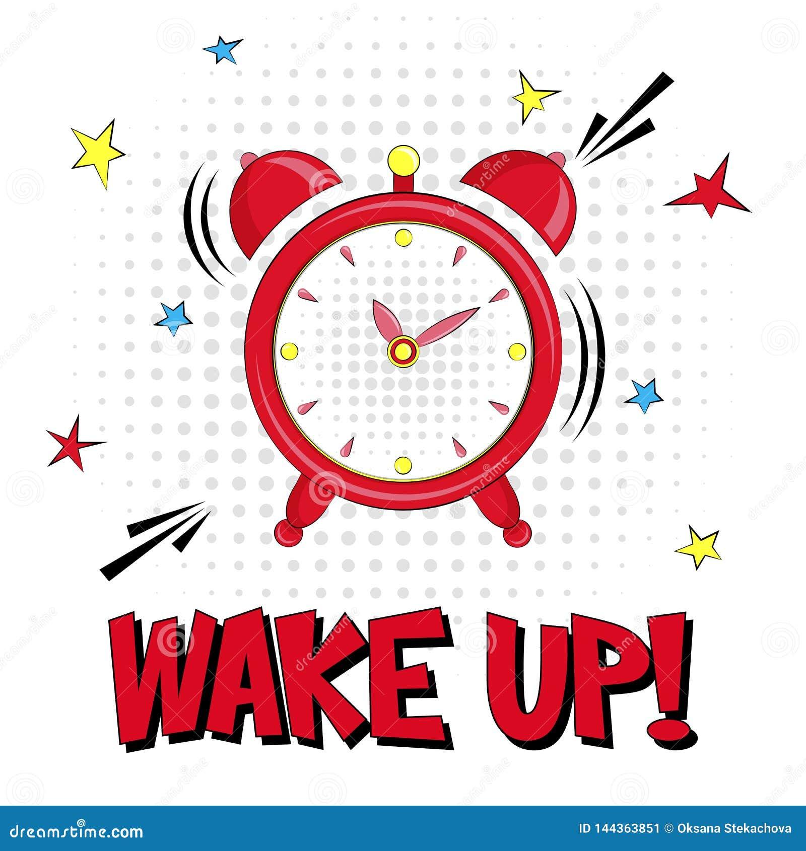 Ξυπνήστε! Διανυσματική γράφοντας απεικόνιση με το συναγερμό και ρολόι αστεριών στο άσπρο υπόβαθρο