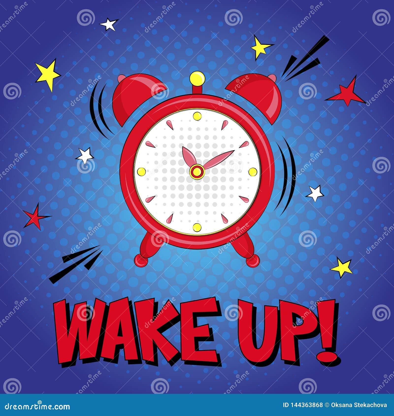 Ξυπνήστε! Διανυσματική γράφοντας απεικόνιση με το συναγερμό και ρολόι αστεριών στο μπλε υπόβαθρο